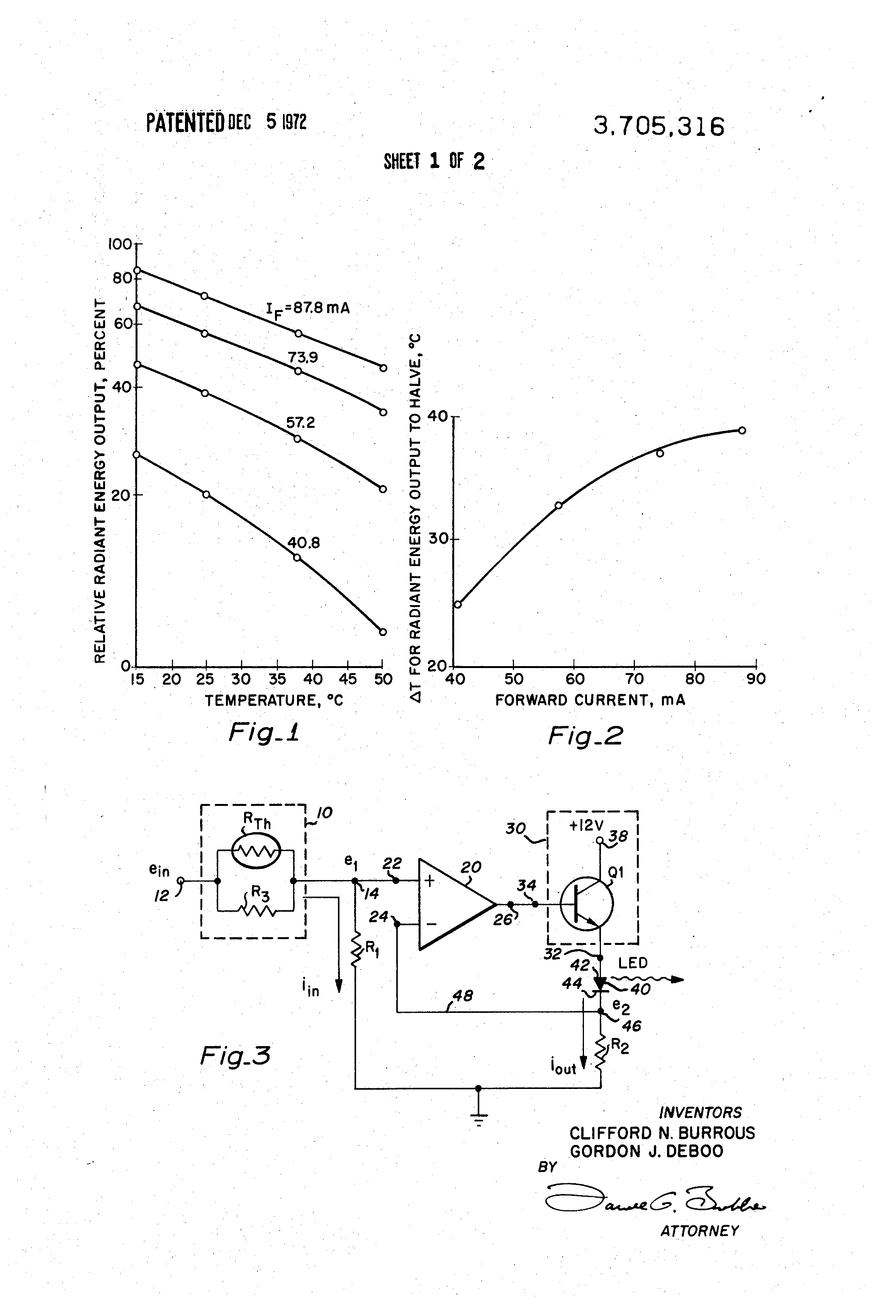 Patent Us3705316 Temperature Compensated Light Source Using A Laser Diode Diagram Pulse Circuits For Infrared Leds And Visible Drawing
