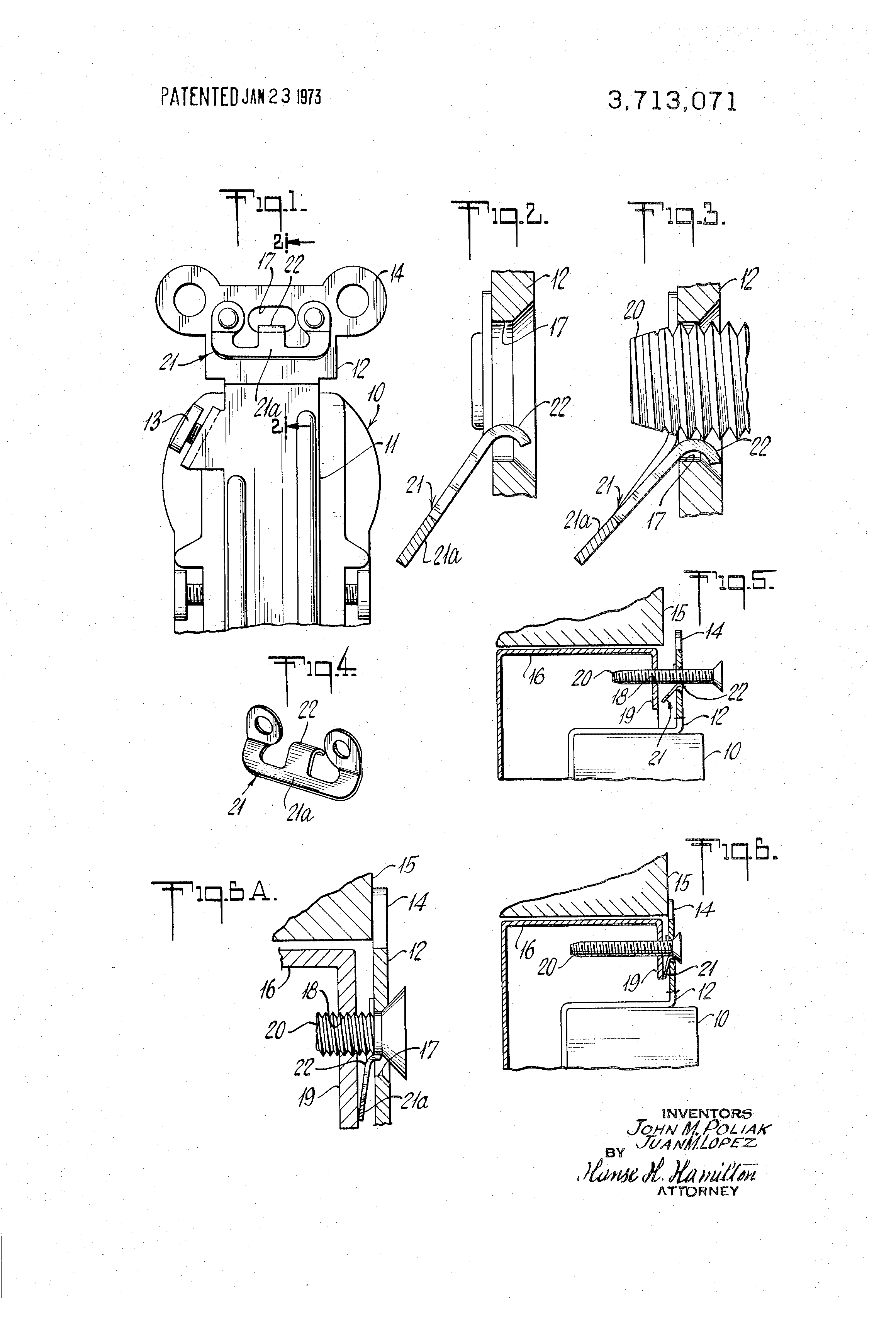 Patent Us3713071 Mounting Strap For Grounding Electrical Devices Plan Drawing