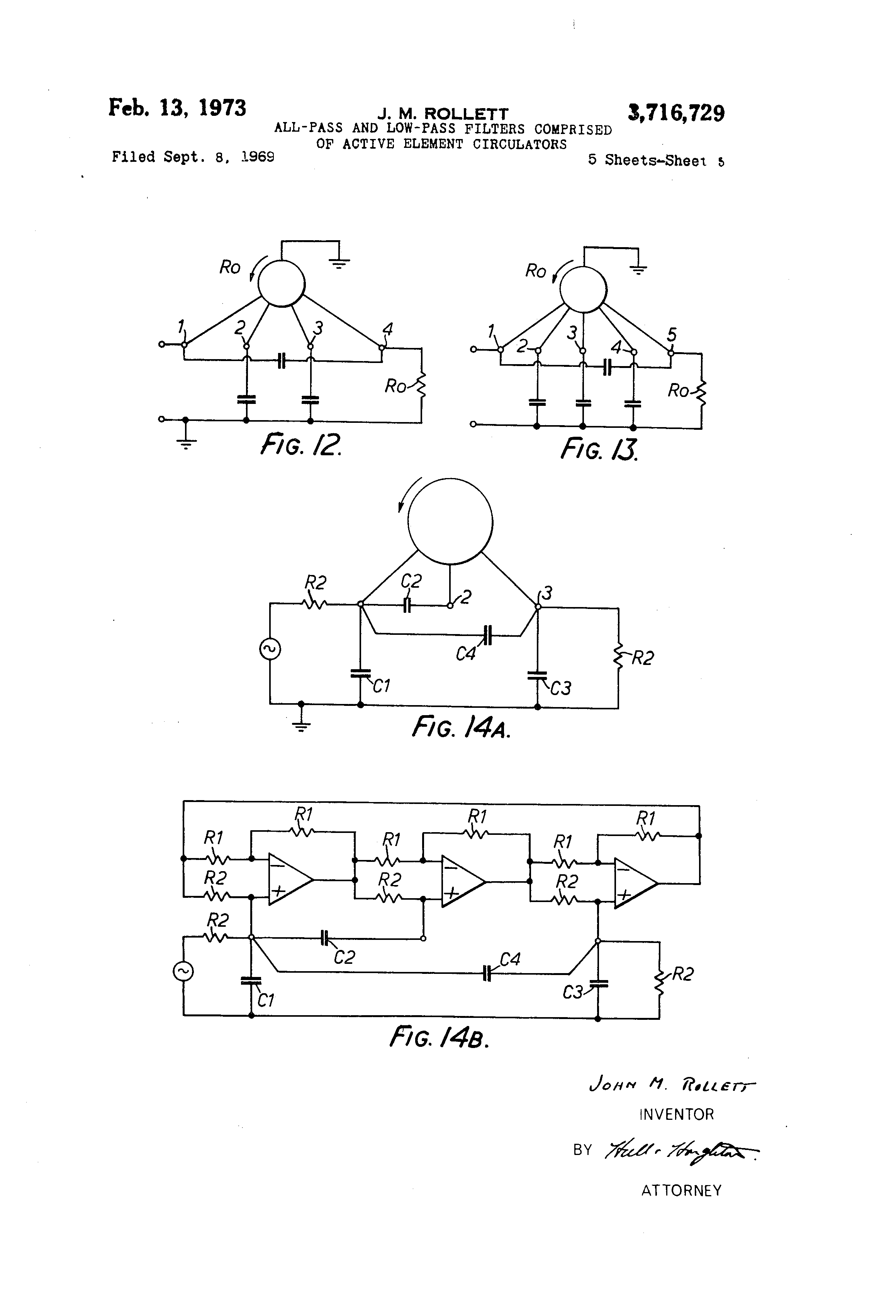All Pass Filters Patent Us3716729 And Low Filter Comprised Of Active Drawing