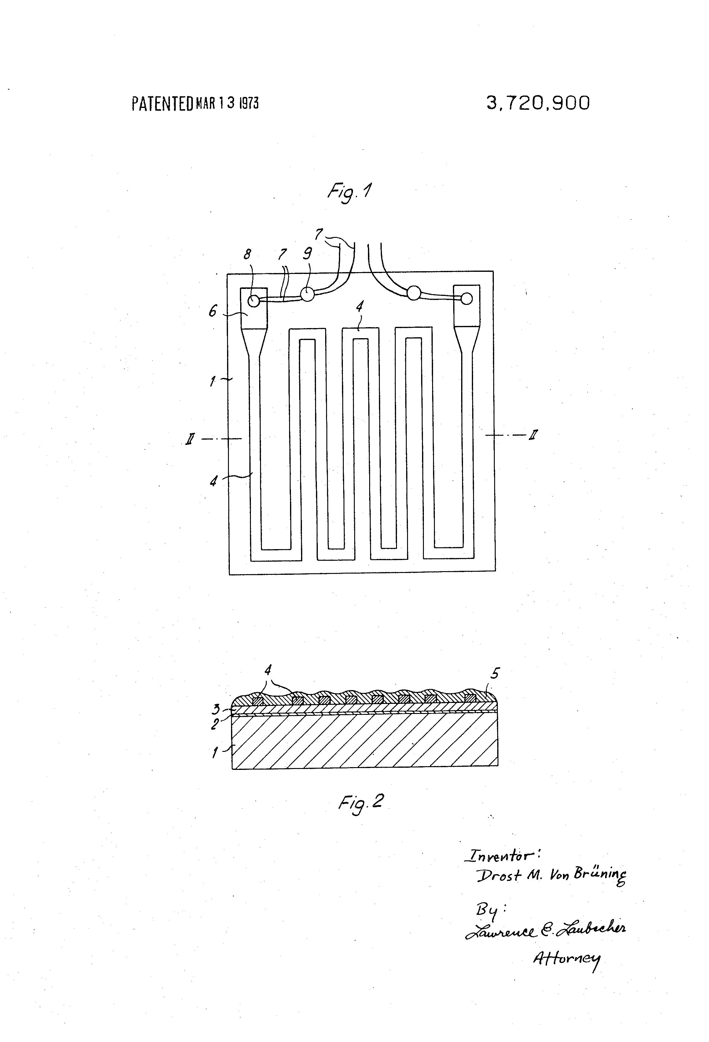 Patent Us3720900 Thin Film Resistance Thermometer Having Low Ohmic Wiring Diagram Drawing