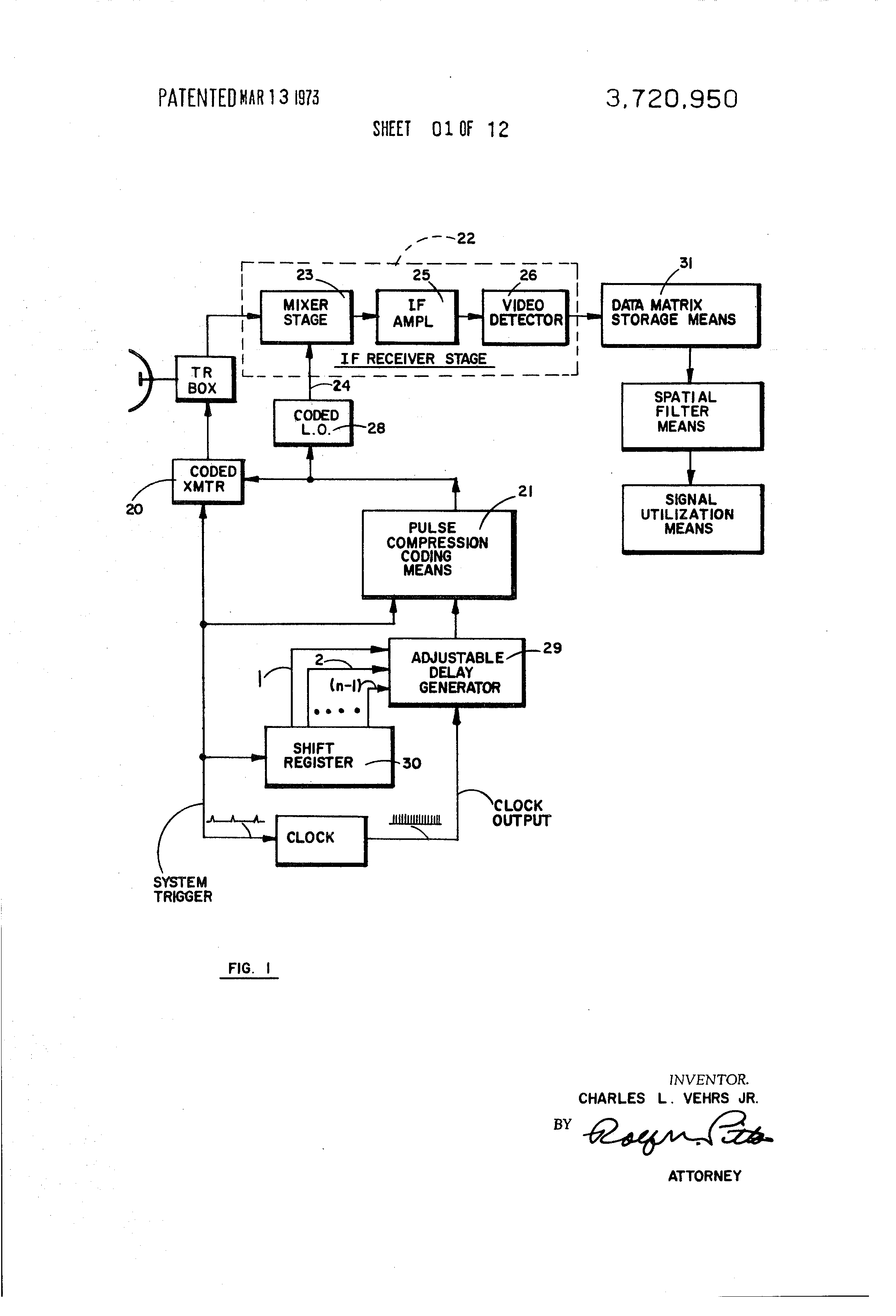 patent us3720950 time domain correlator for spatial filtering in a PWM Circuit patent drawing
