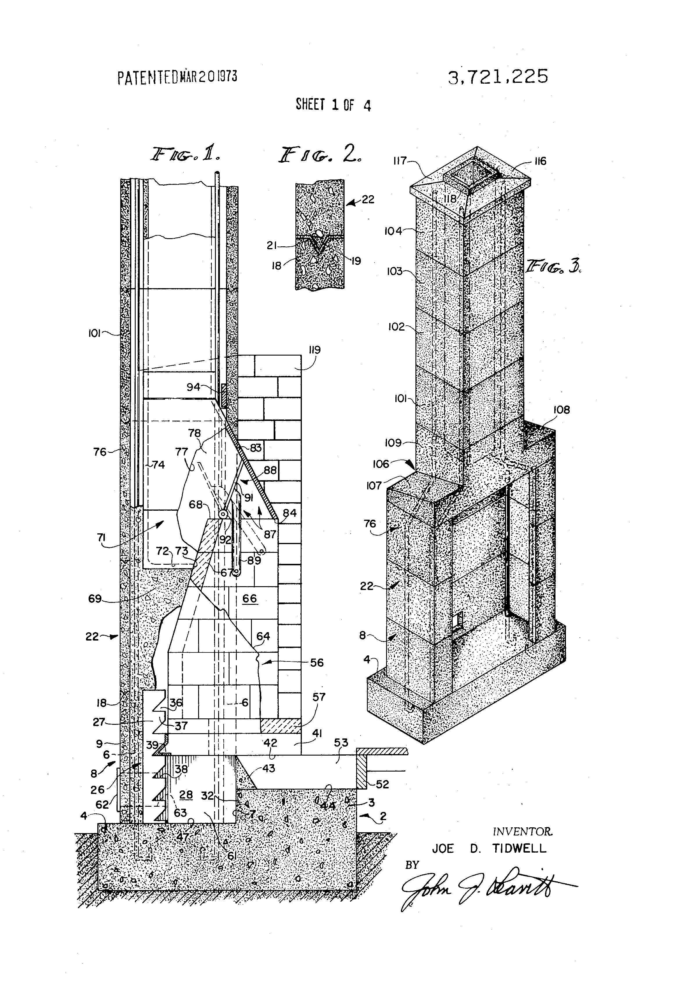 Patent Us3721225 Factory Fabricated Fireplace
