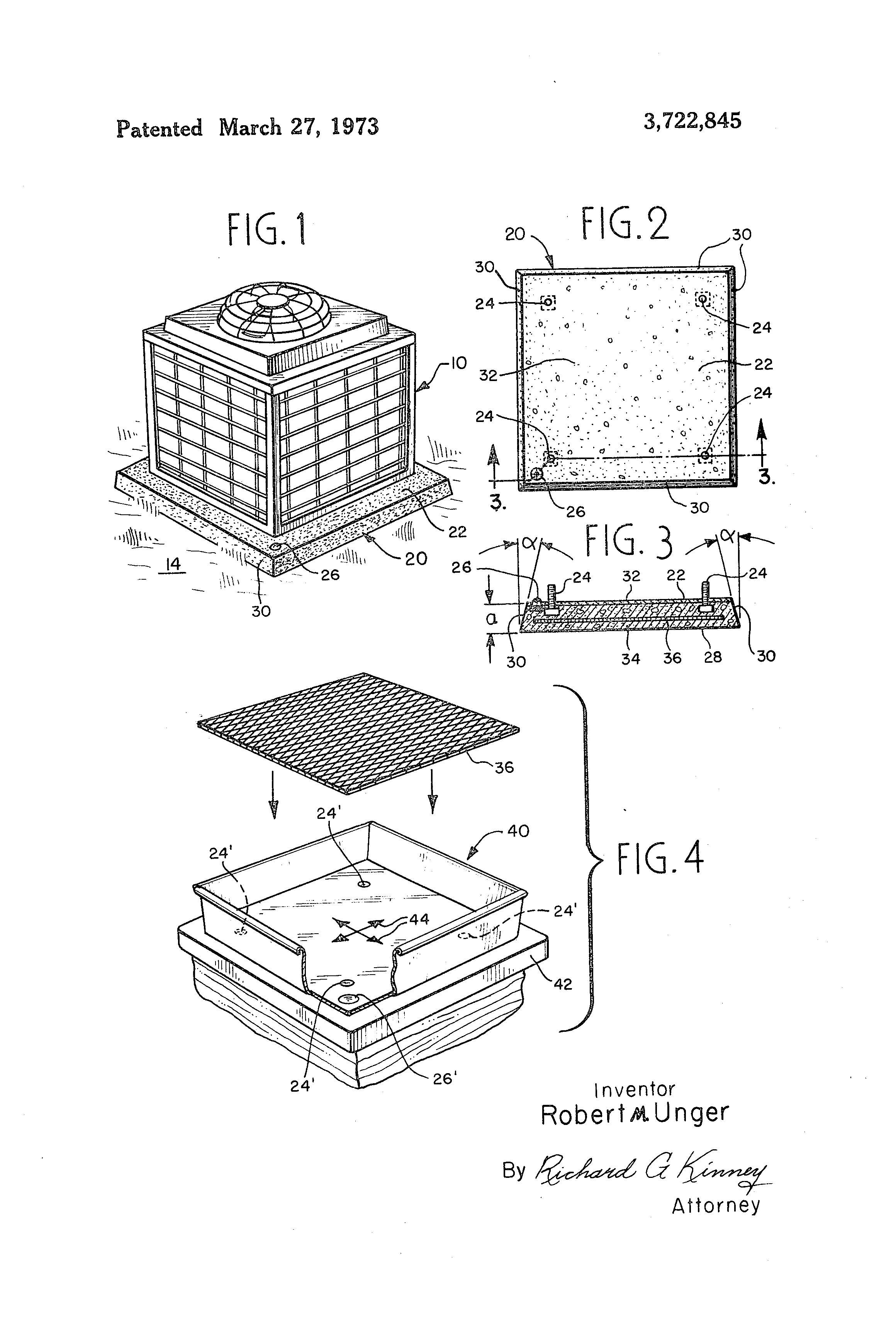 Patent us3722845 ground mounting base for central air for Ac condenser pad installation