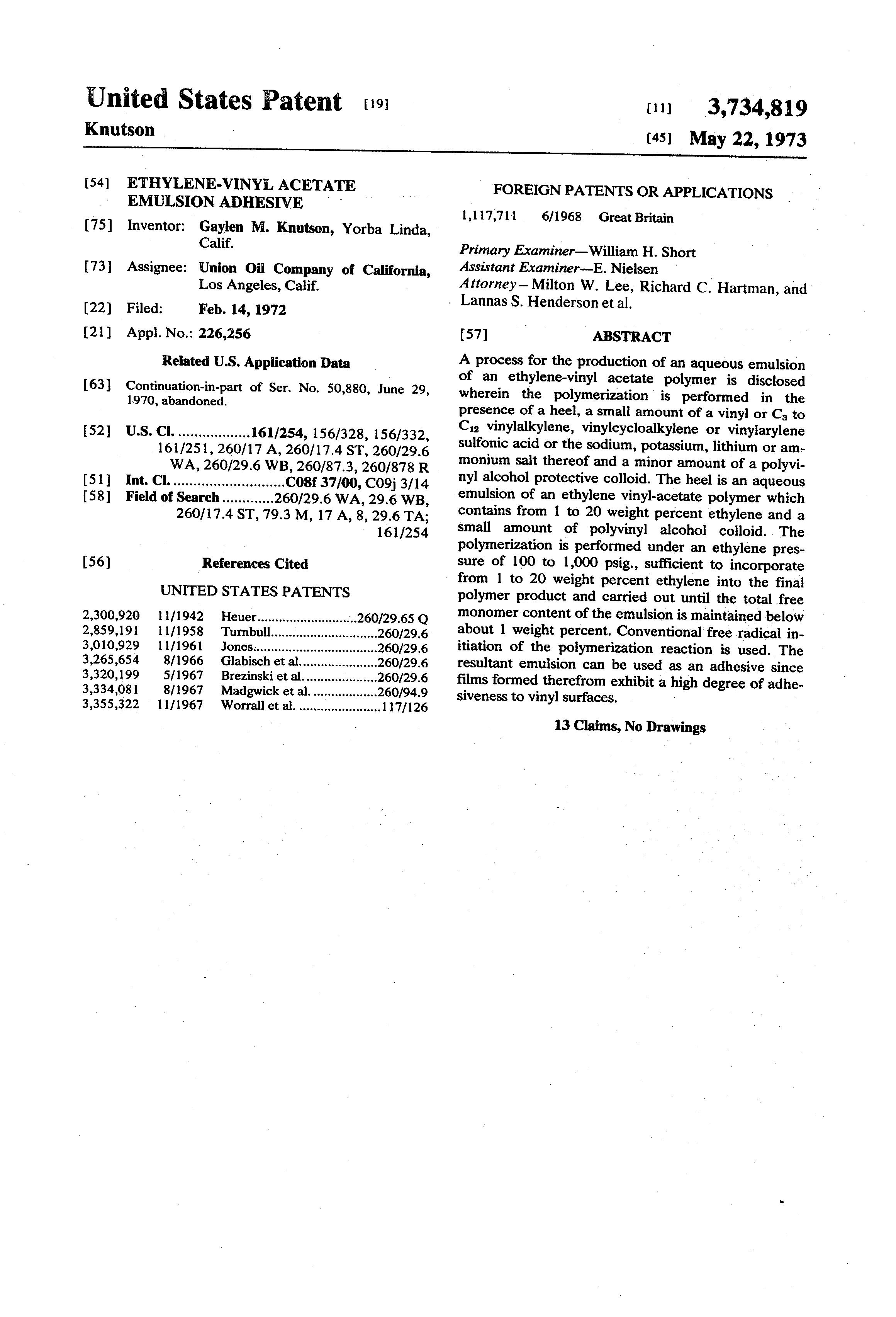 Patent Us3734819 Ethylene Vinyl Acetate Emulsion