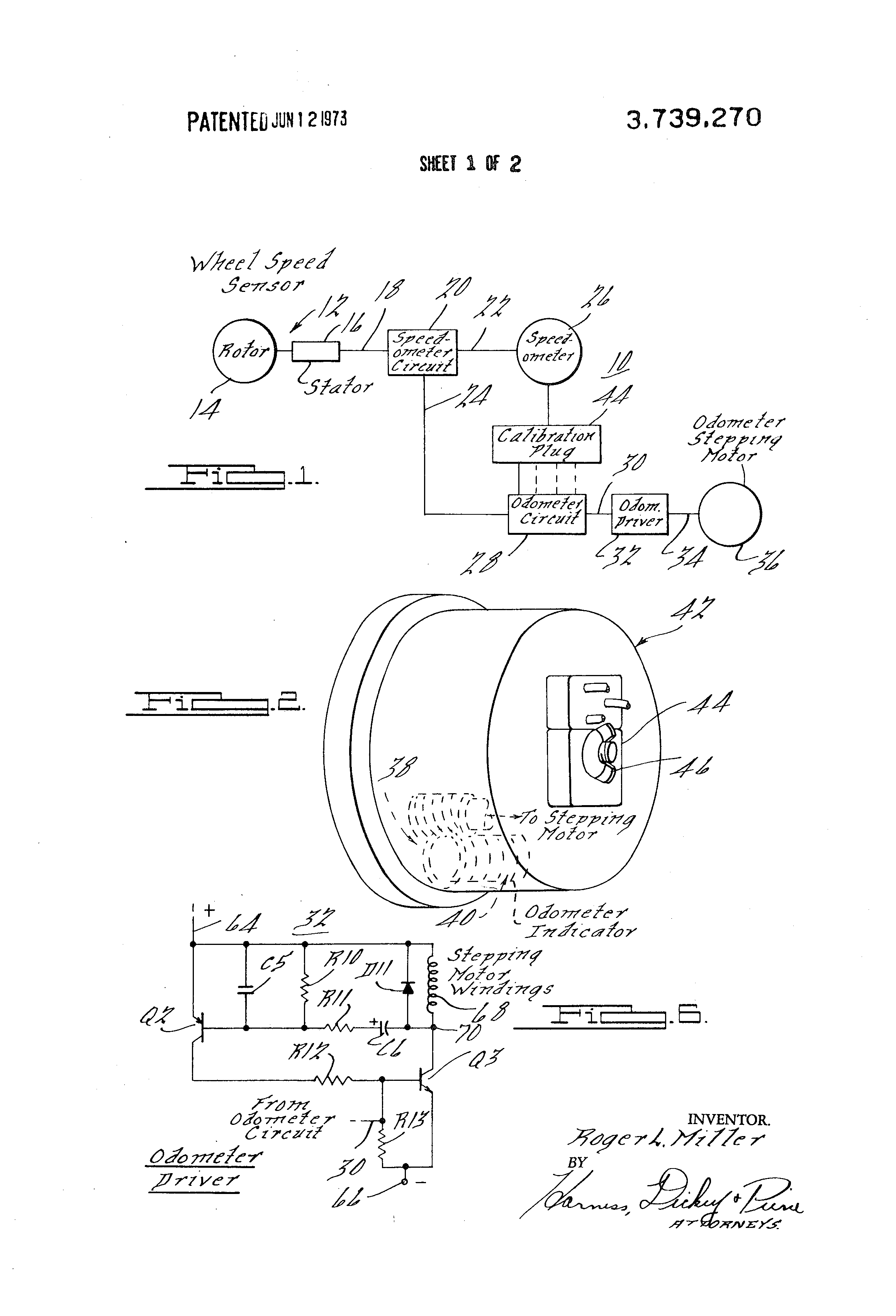 US3739270 1 patent us3739270 electronic speedometer odometer with on nippon seiki tachometer wiring diagram