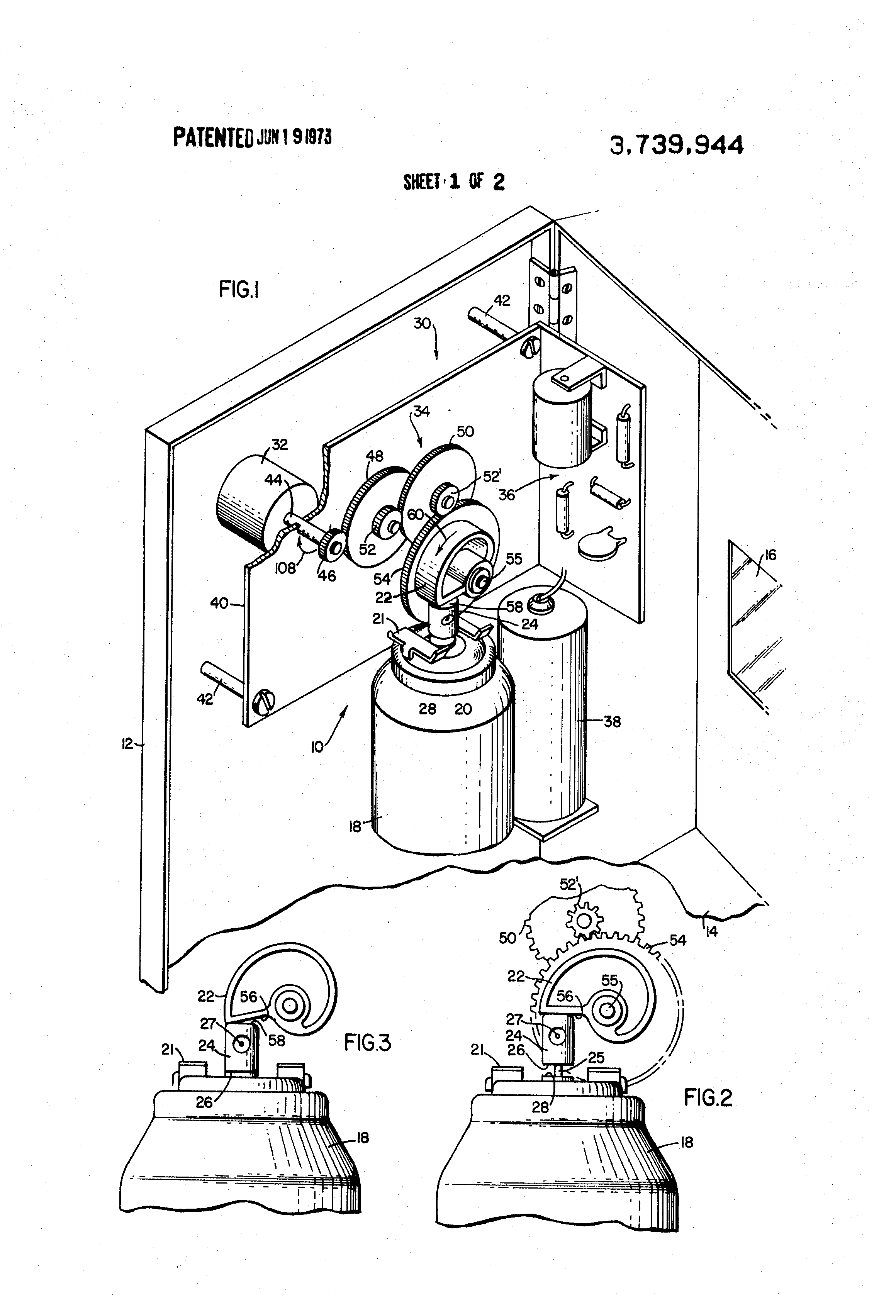 patent us3739944 - automatic periodically actuated spray dispenser