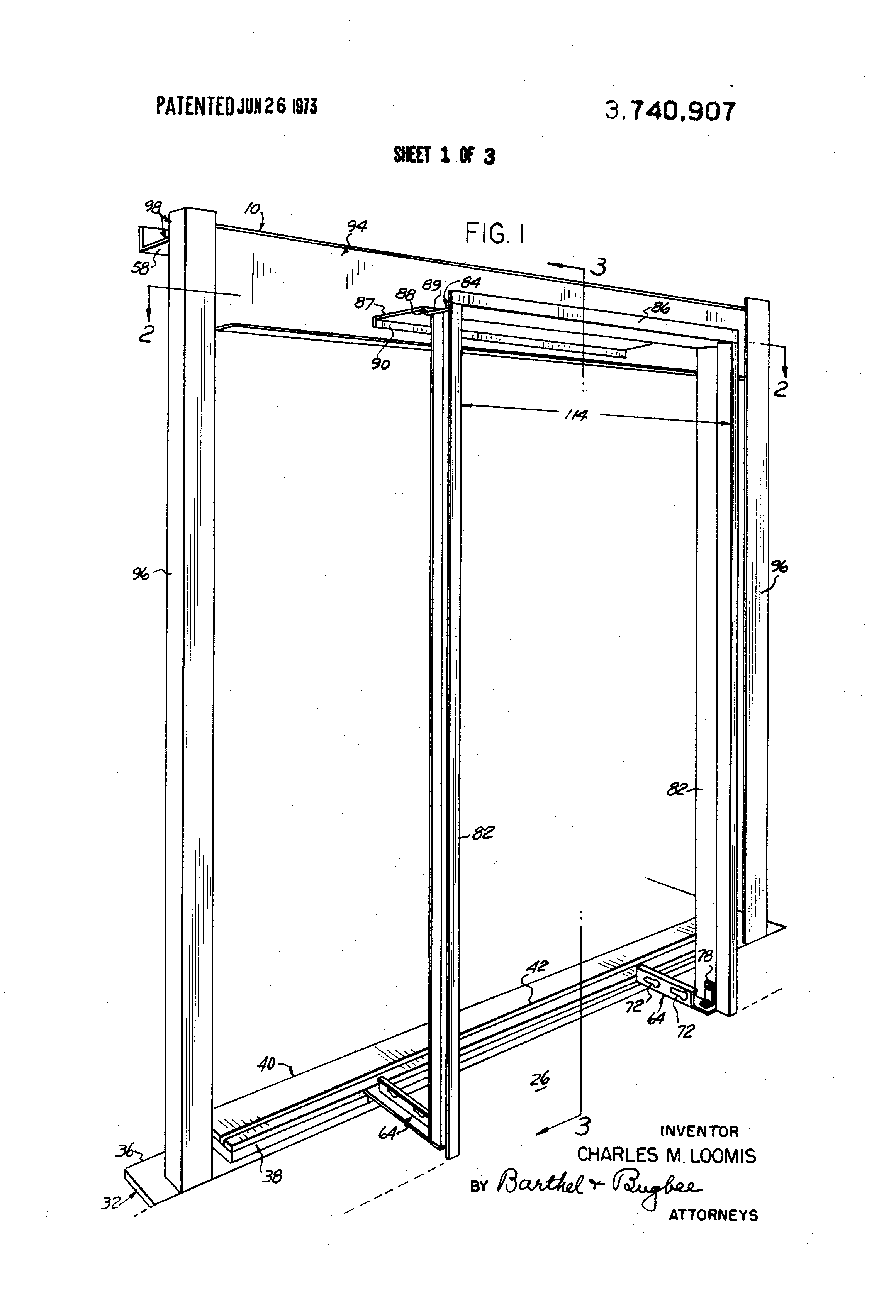 Patent US3740907 - Gauge frame for elevator shaft entrance ...