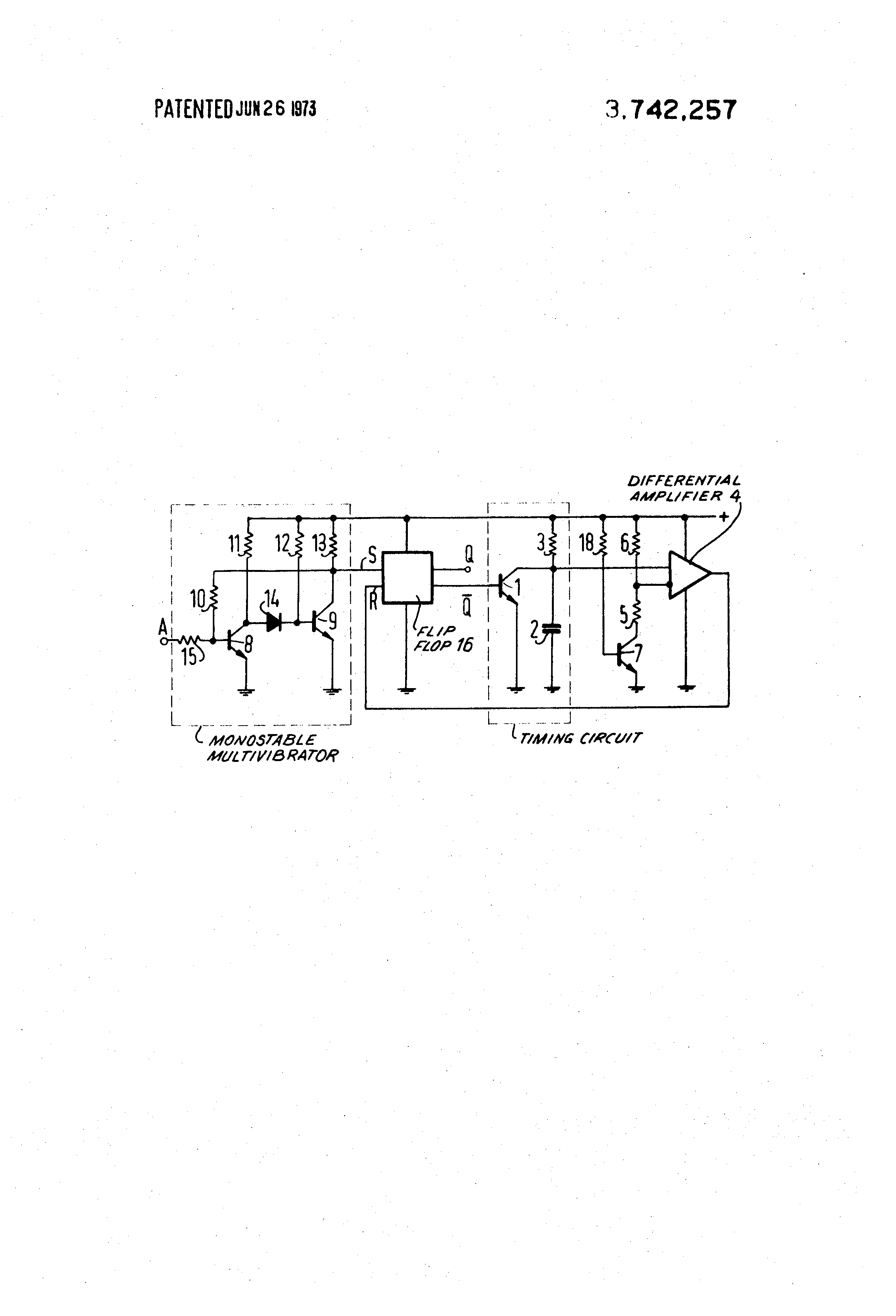 Patent Us3742257 Monostable Multivibrator Pulse Forming Circuit How To Build Flip Flop Drawing