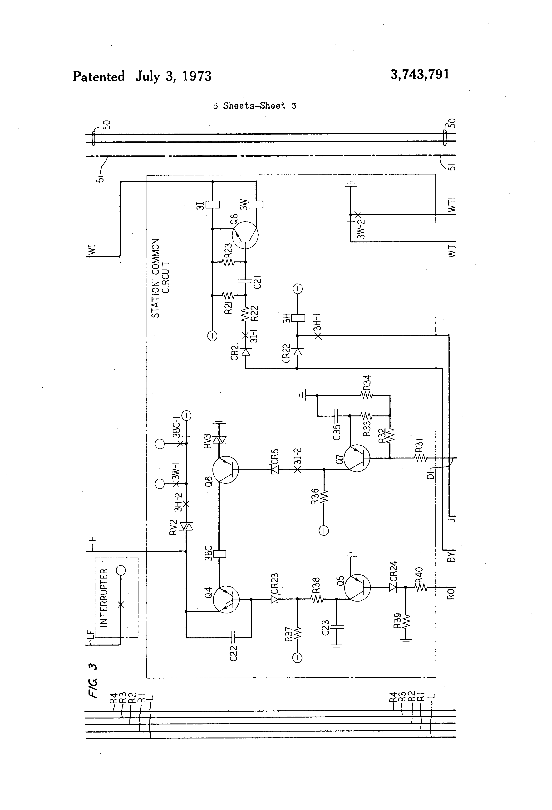 Brevet Us3743791 Control Arrangement For Hands Free Telephone Intercom Circuit With Transistors Simple Schematic Collection Patent Drawing