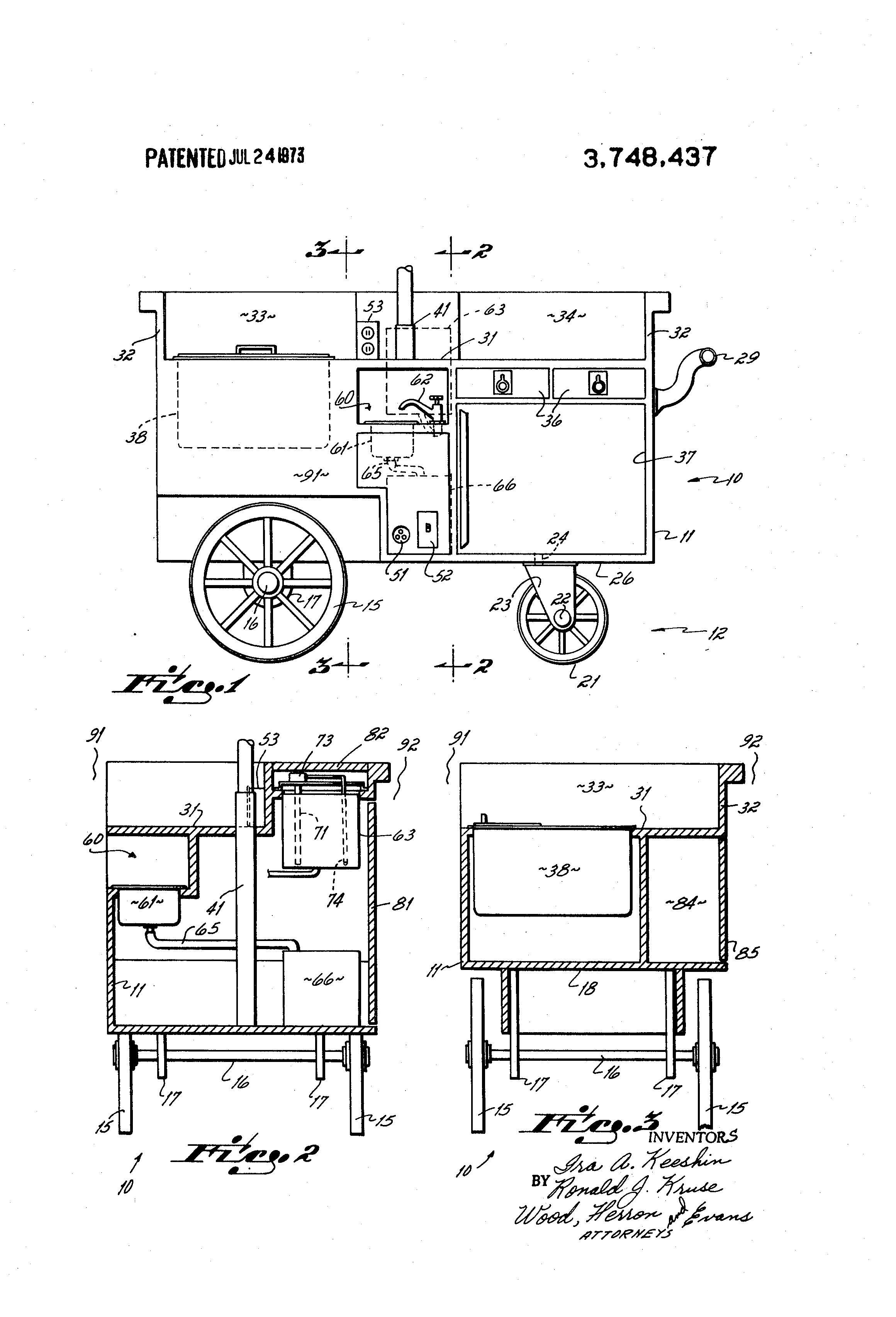 Patent Us3748437 Mobile Food Concession Cart Google