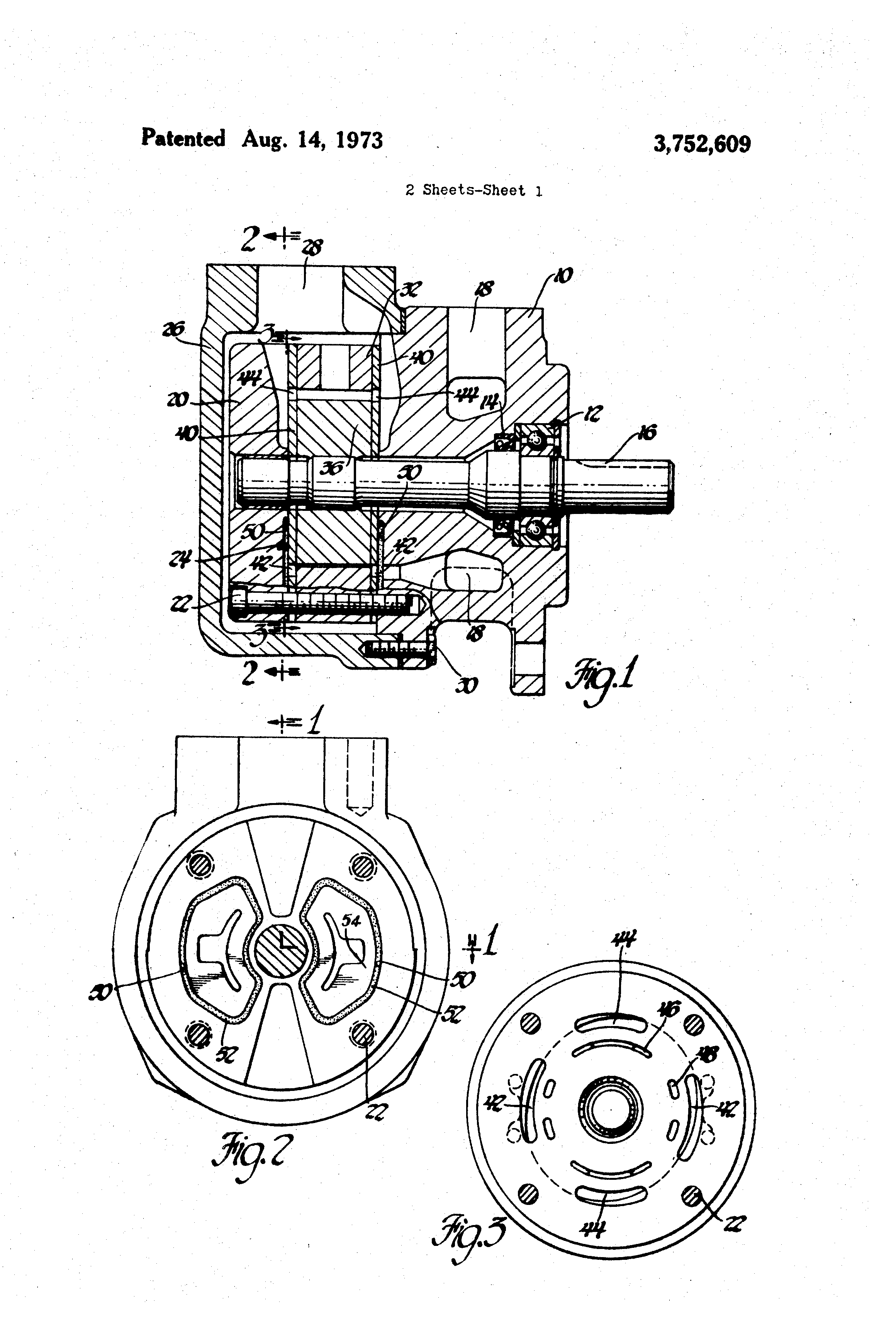 Patent Us3752609 - Vane Pump With Fluid-biased End Walls