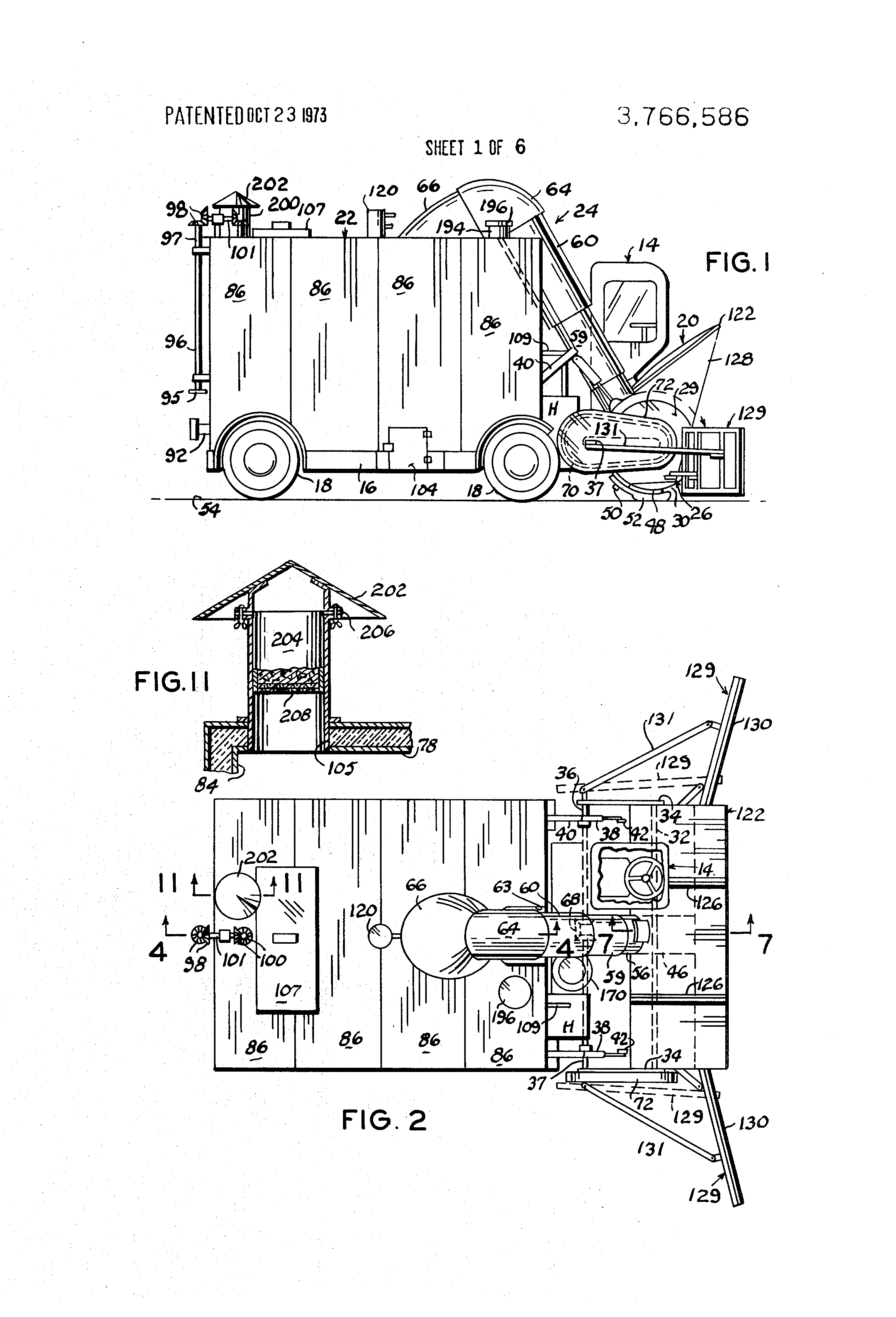Patent US3766586 - Snow removal and vacuum sweeper with