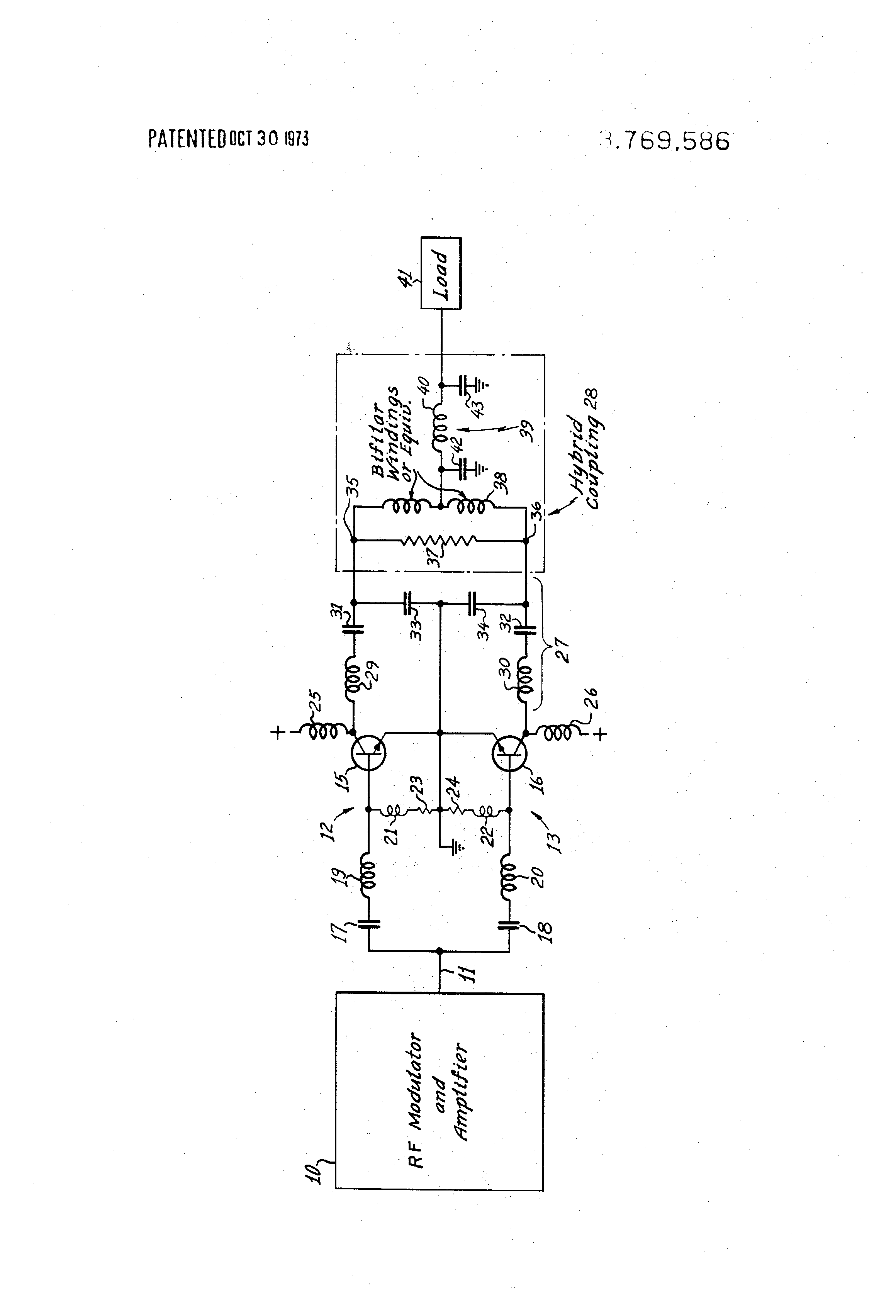 Us3769586 Hybrid Coupler For Radio Transmitter Stereofmtransmittercircuitpng Patent Drawing