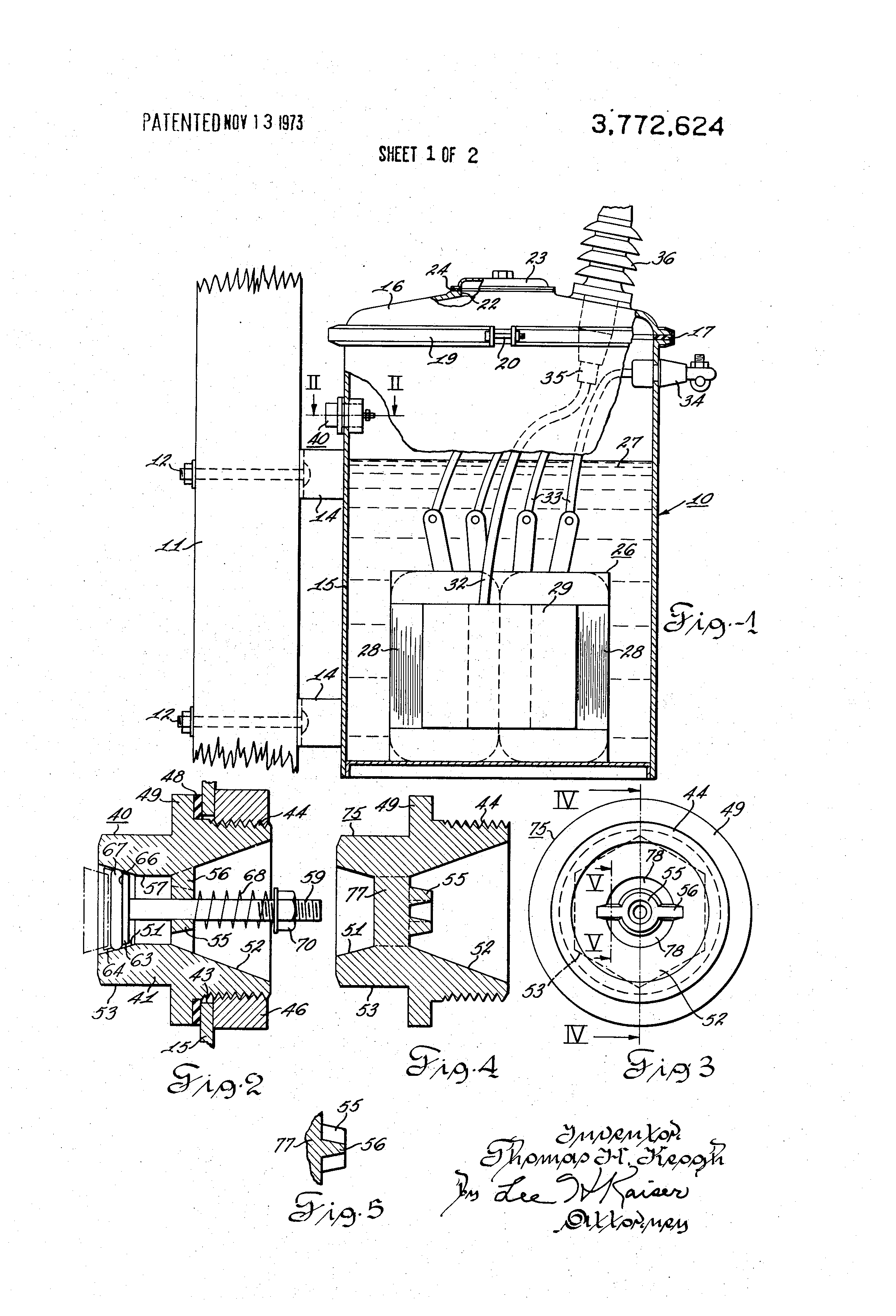 patent us3772624 - electrical distribution transformer having pressure relief means
