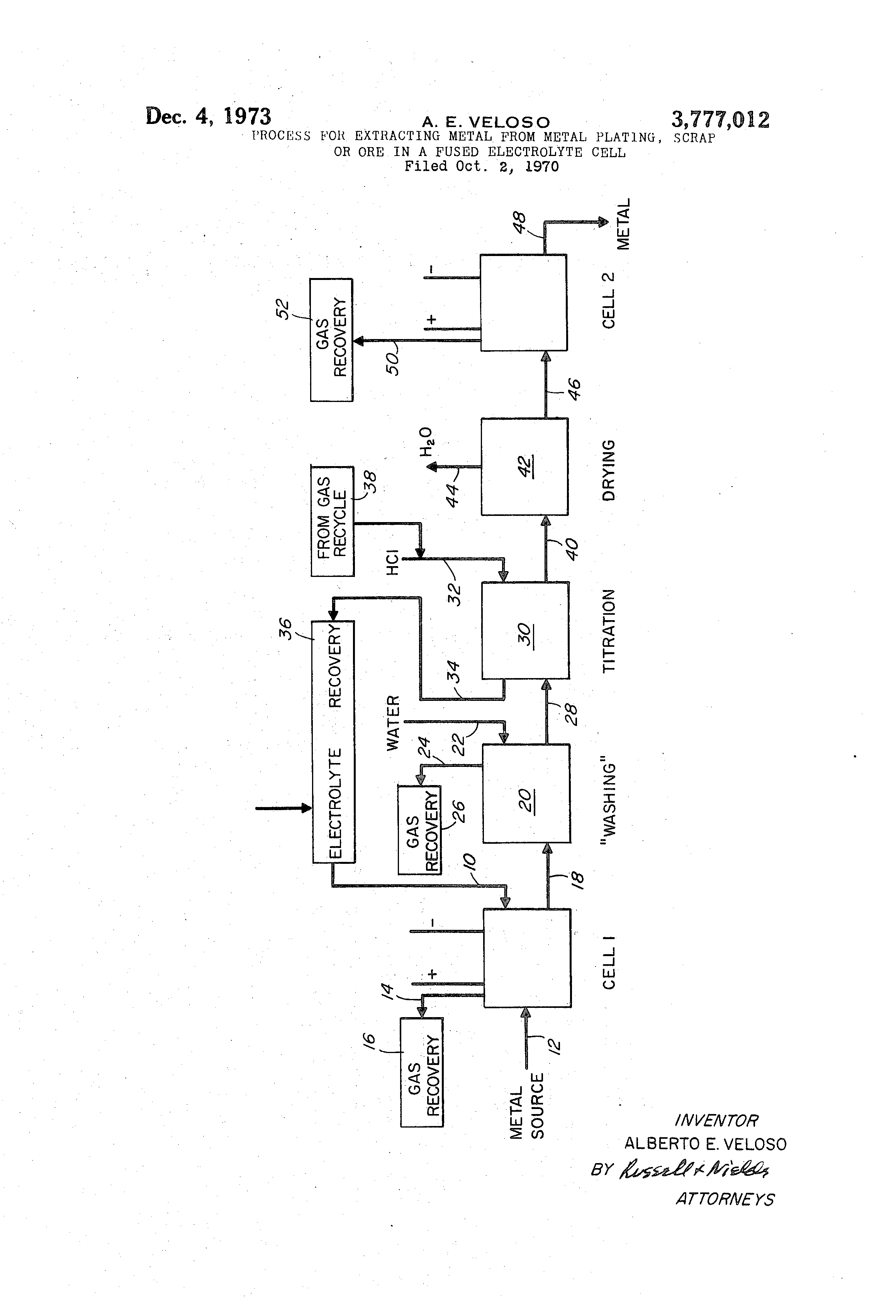 Brevet US3777012 - Process for extracting metal from metal plating