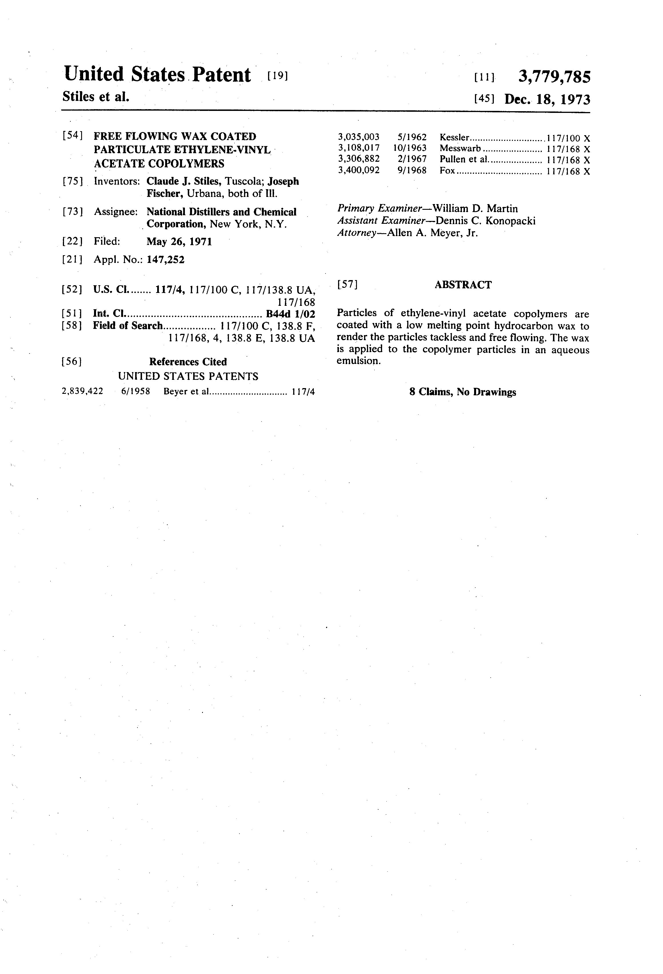 Patent Us3779785 Free Flowing Wax Coated Particulate
