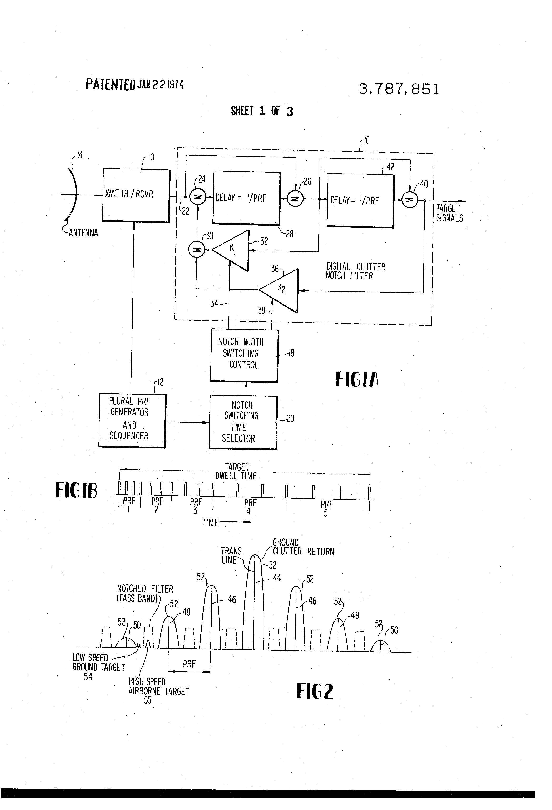 Patent US3787851 - Low prf pulse doppler radar having low