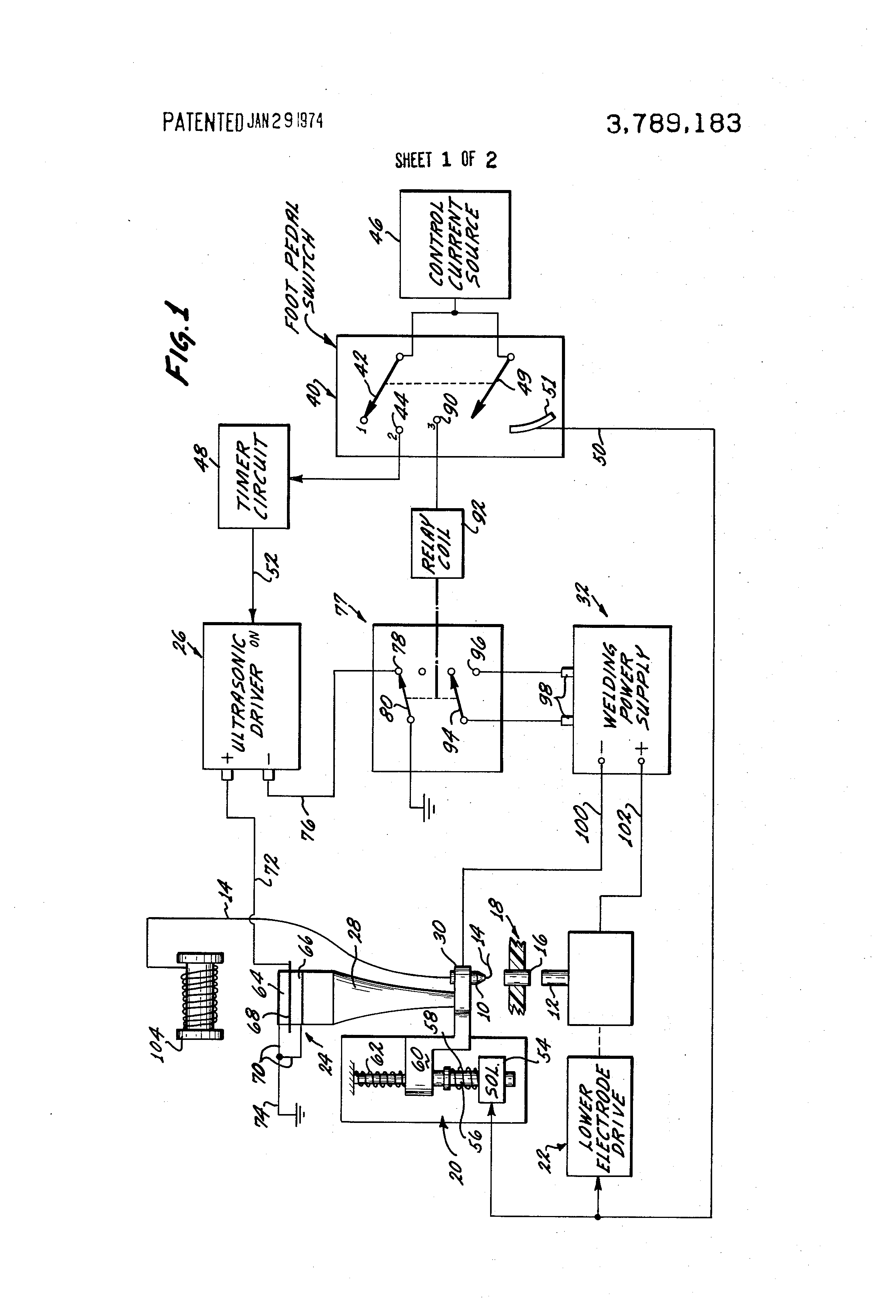 Patent Us3789183 Through Insulation Welding Method And Apparatus Resistance Block Diagram Drawing