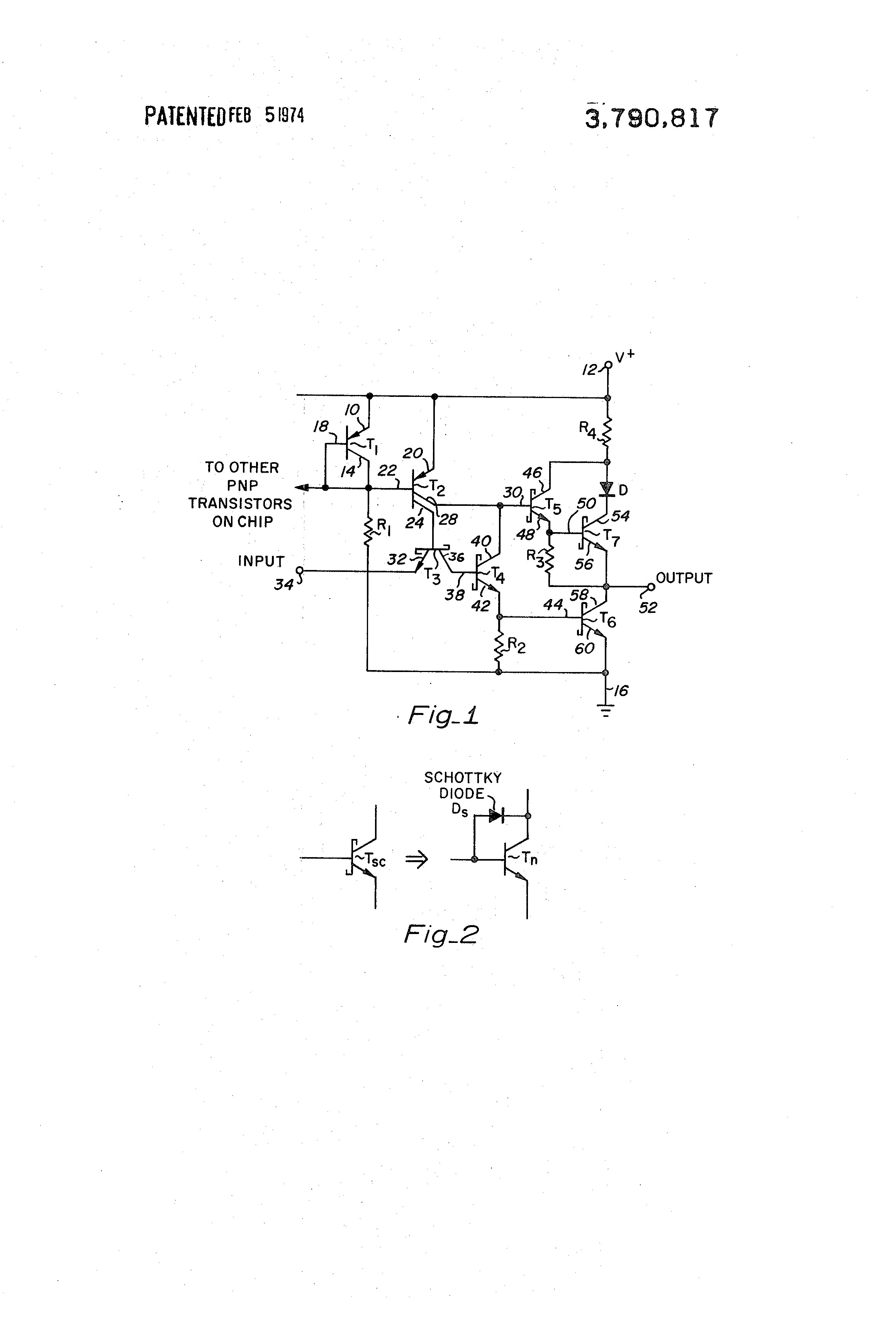 Patent Us3790817 Schottky Clamped Ttl Circuit Google Patents This Is A Transistor Logic Or Gate Using Drawing
