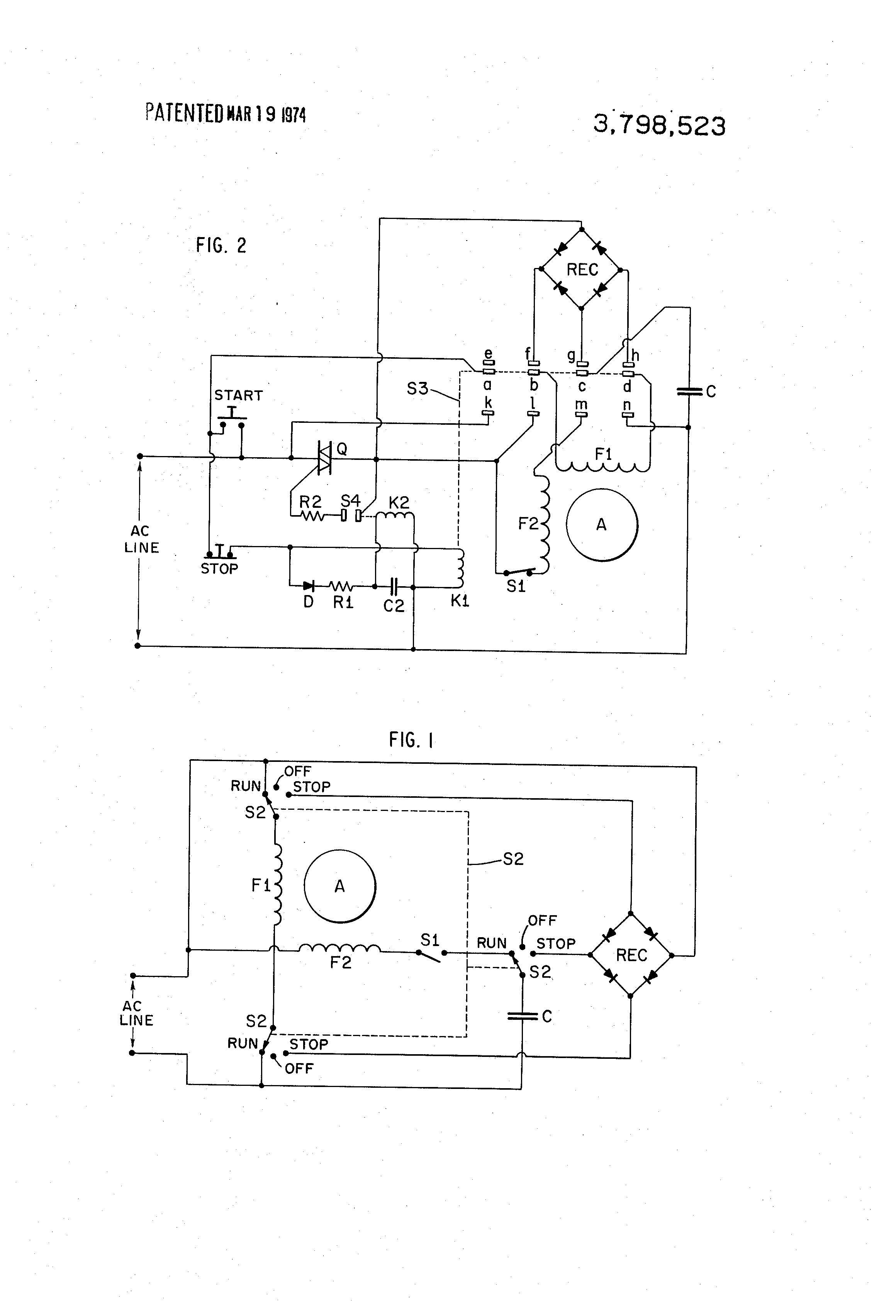 patent us3798523 - single phase induction motor brake