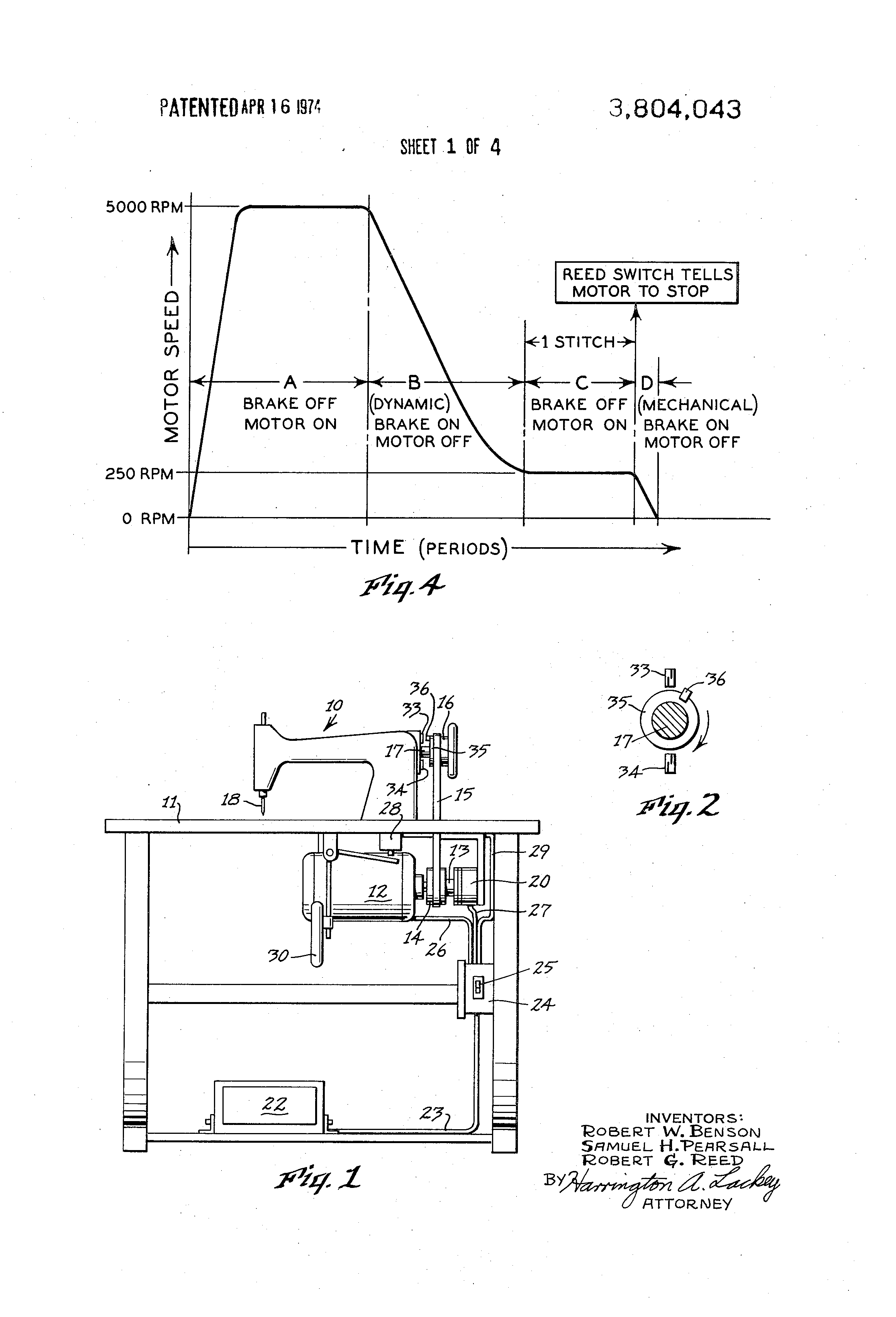 US3804043 1 patent us3804043 needle positioner for a sewing machine google singer sewing machine foot pedal wiring diagram at aneh.co