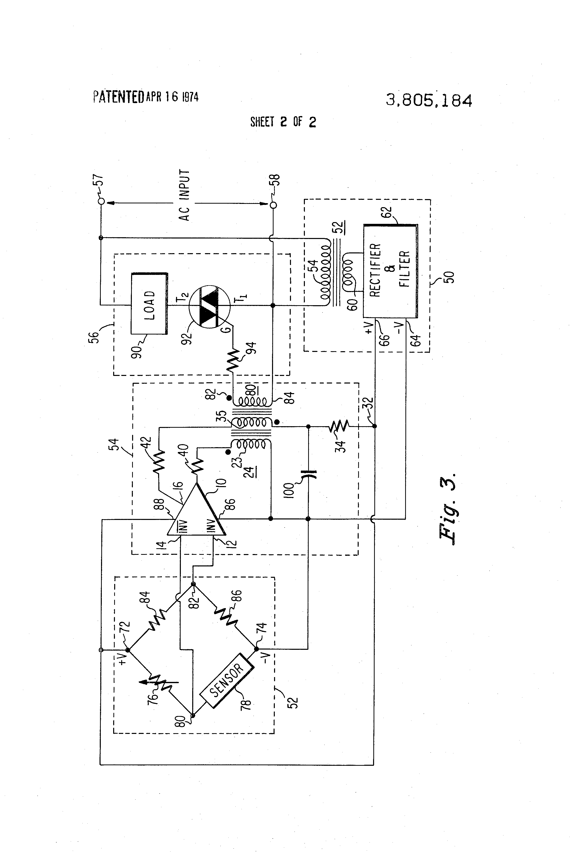 Us3805184 Gated Astable Multivibrator Temperature Controlled Triac For A Fan An Scr Flipflop Patent Drawing