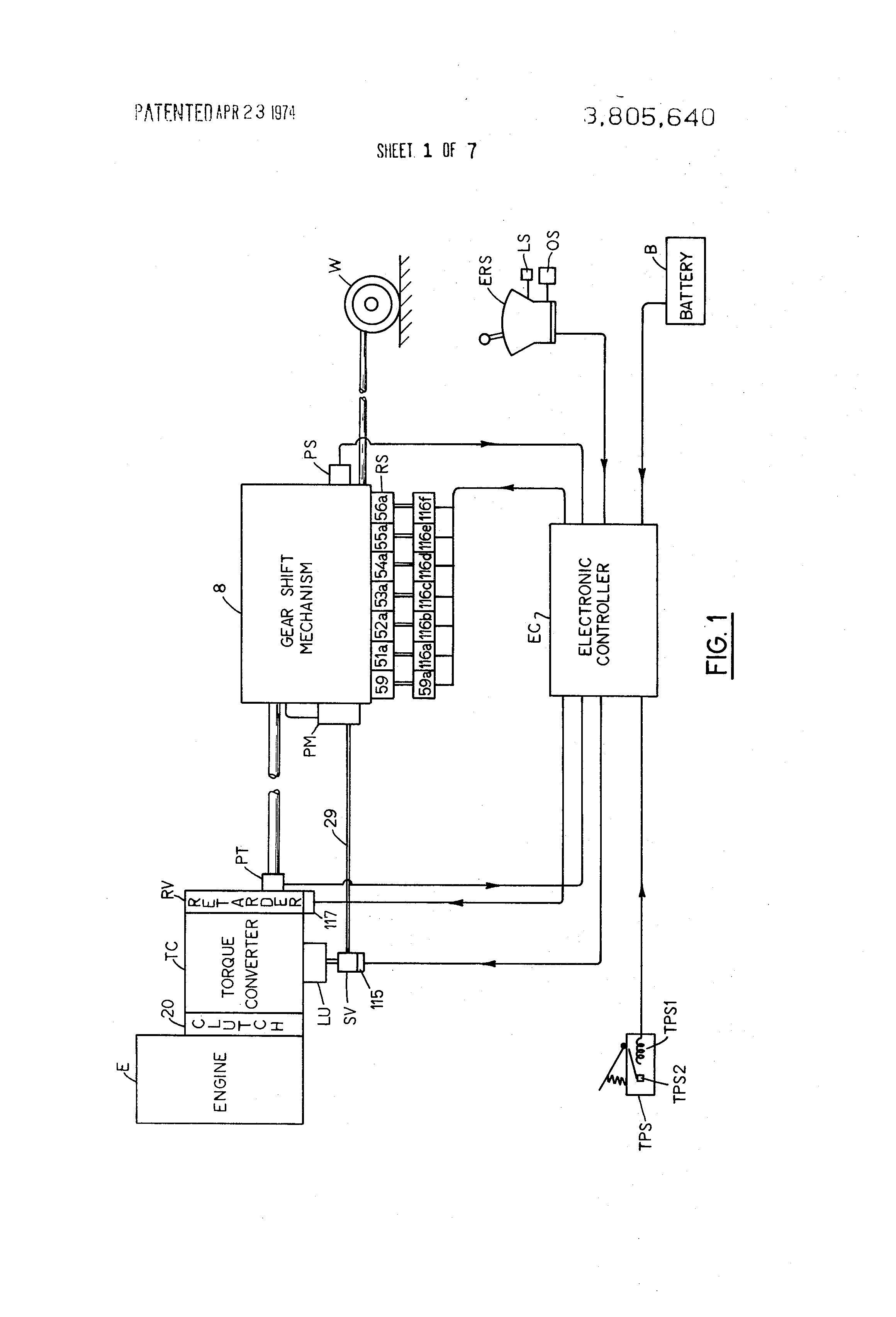 patent us3805640 electronically controlled power transmission patent drawing