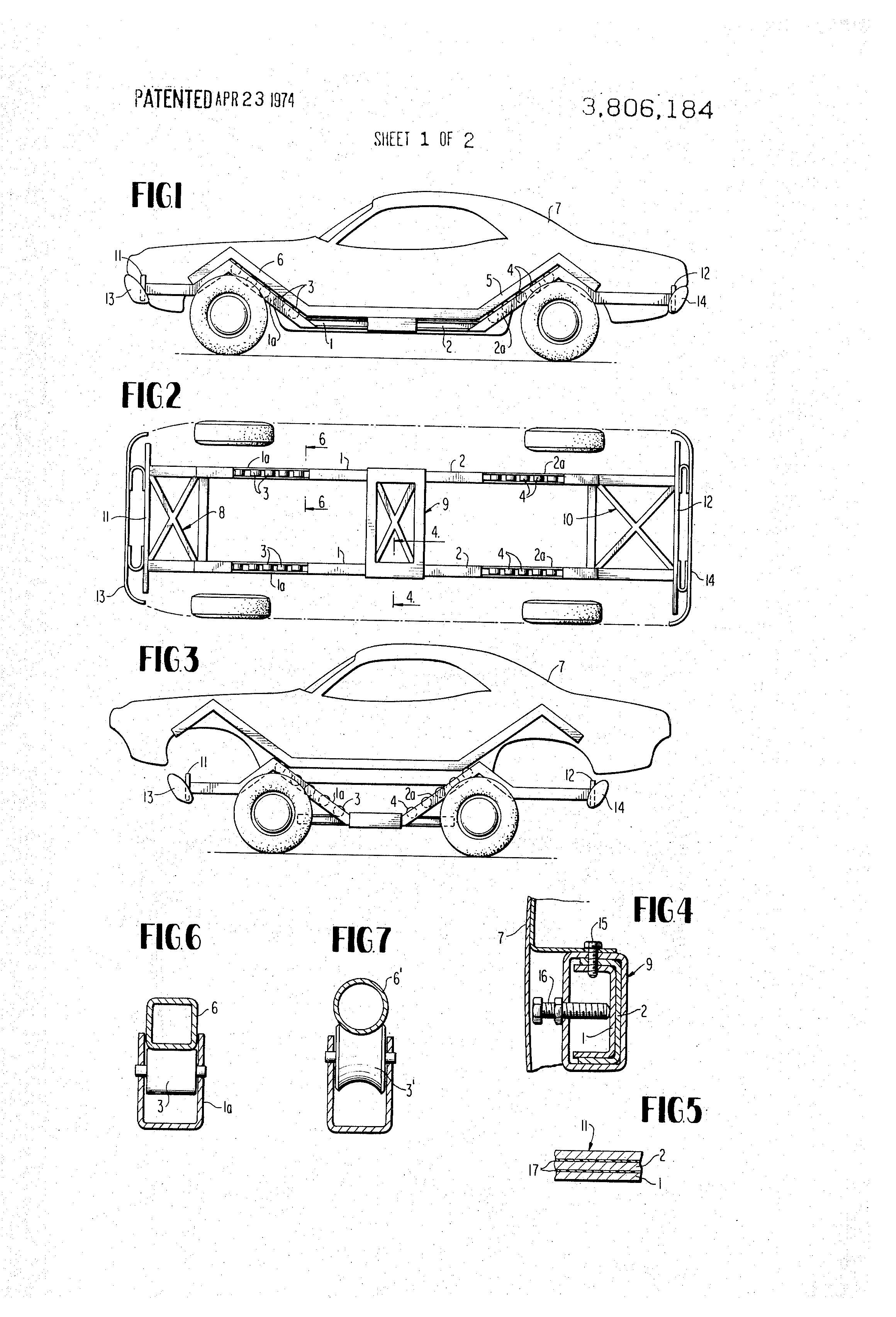 براءة الاختراع US3806184 - Vehicle chassis frame - براءات