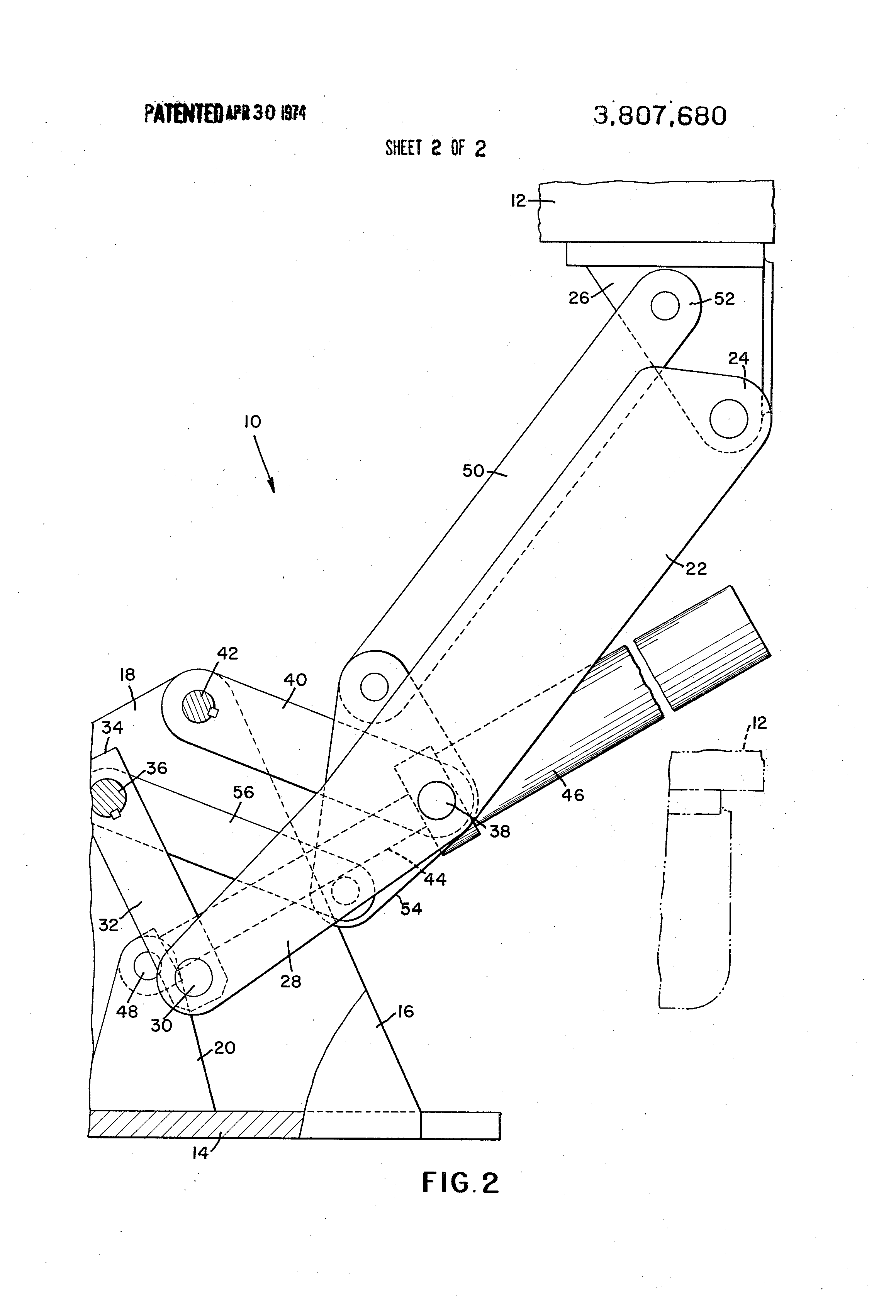 Patent US Elevating mechanism for dental chairs and the