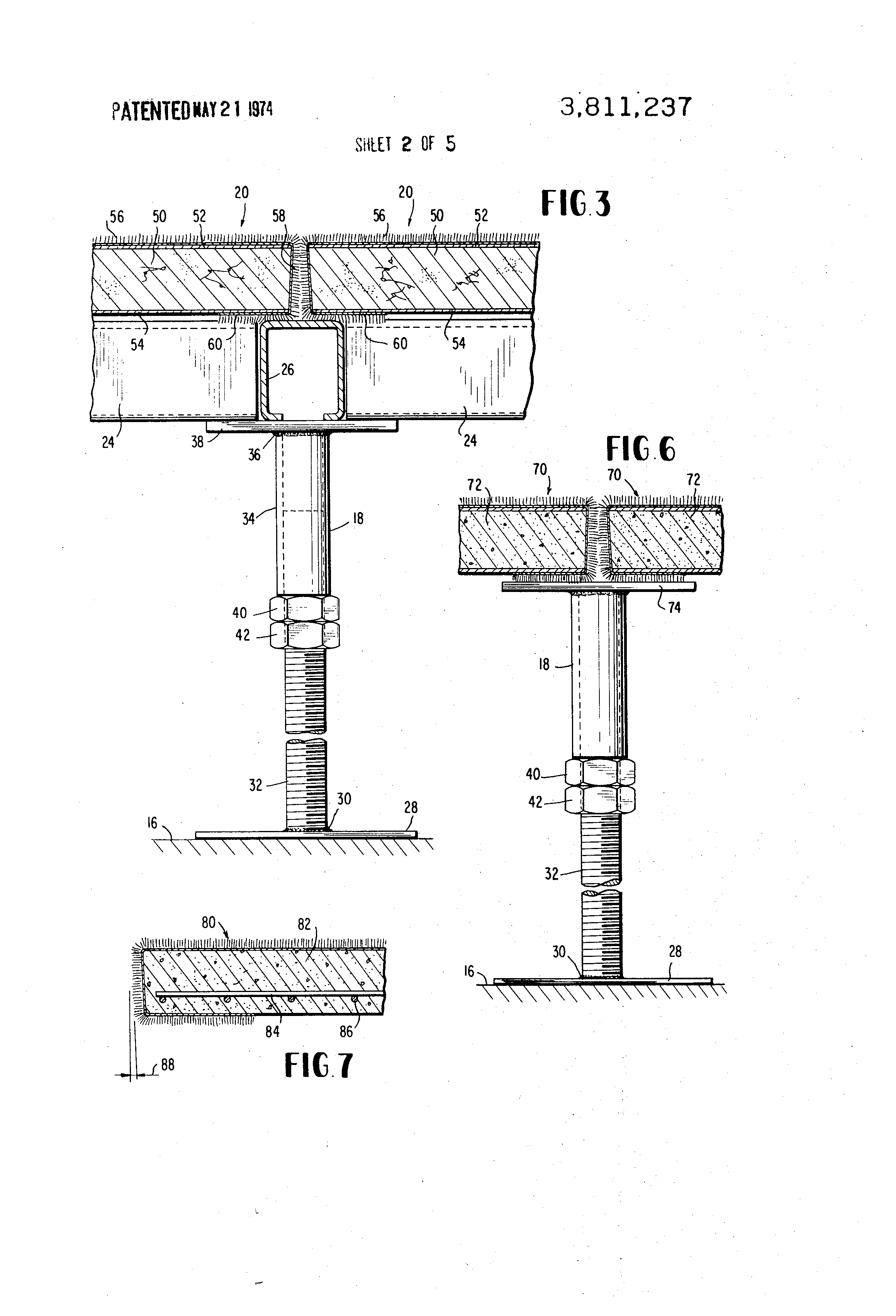 Patent Us3811237 Raised Floor Panel And Assembly