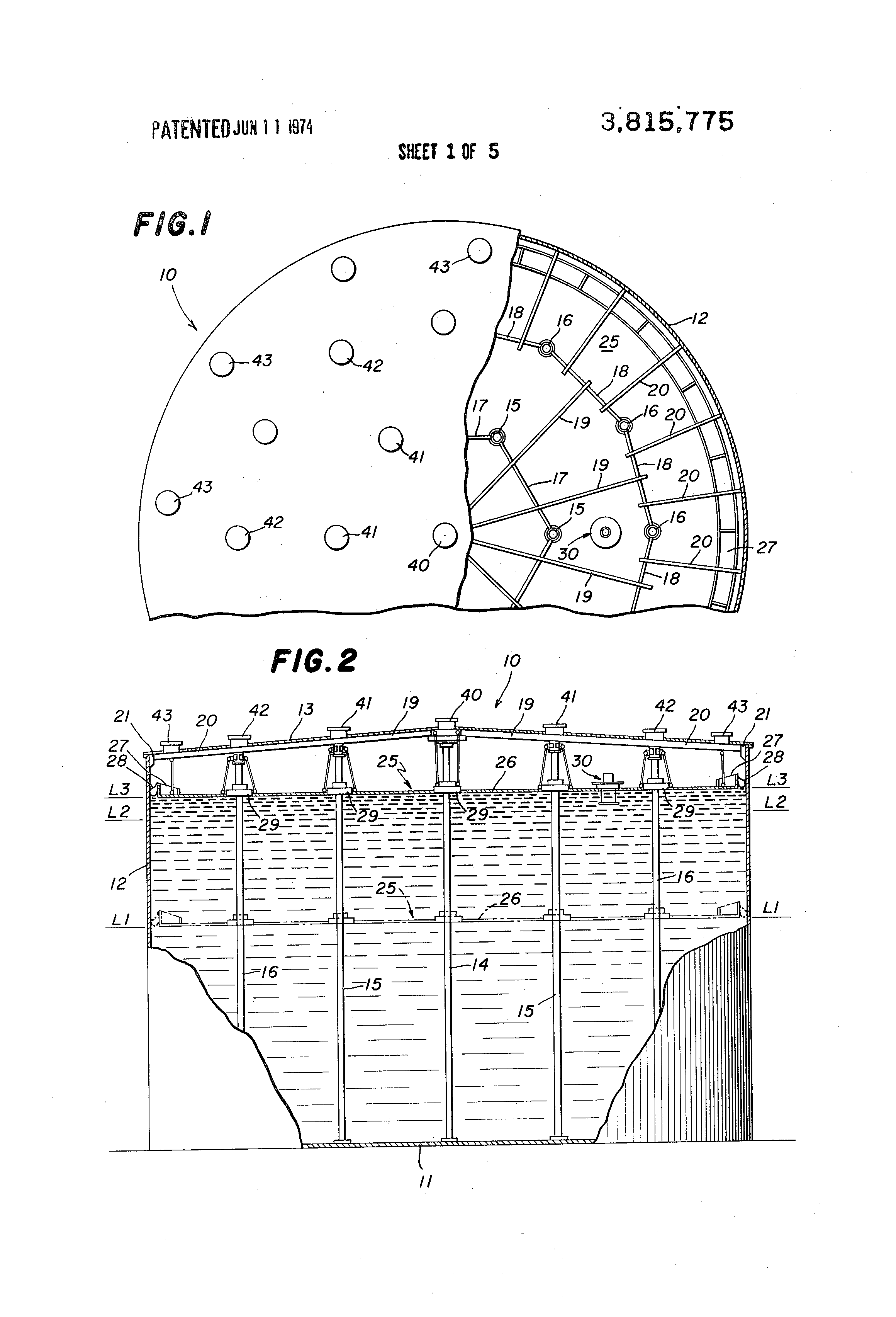 Patent US3815775 - Covered storage tank with means to