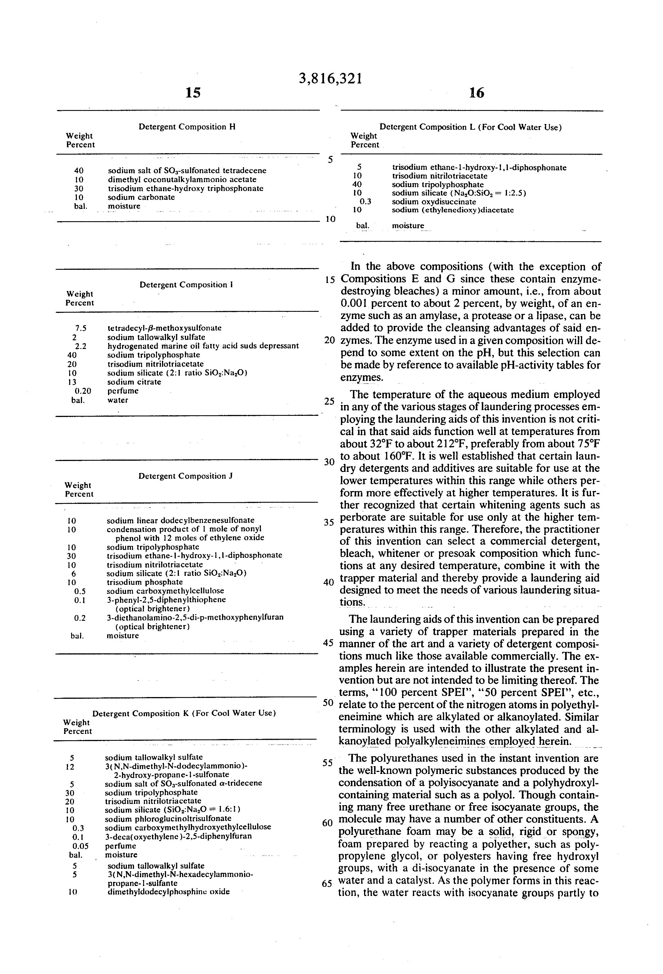 brevet us3816321 laundering aid brevets