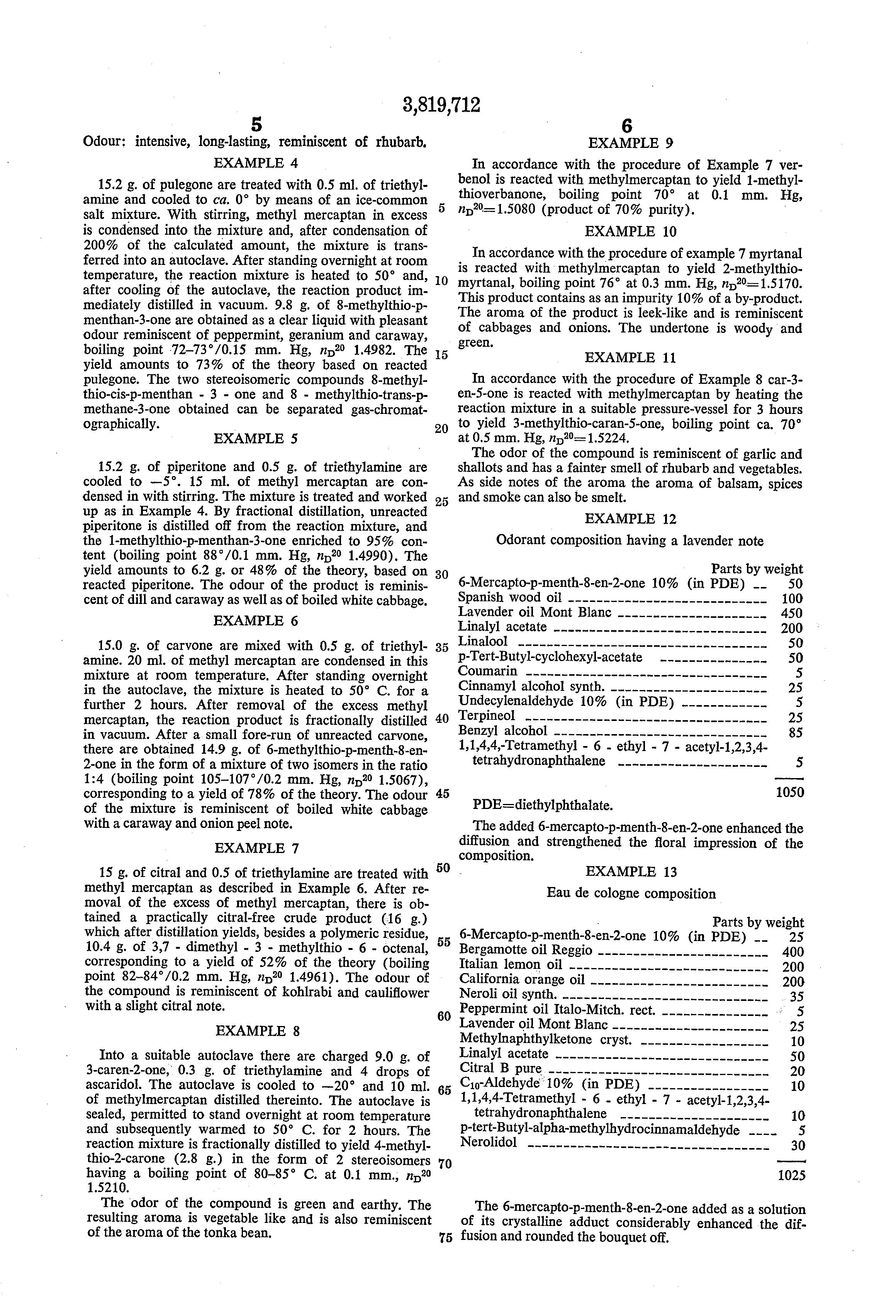 brevet us3819712 mercapto or alkylthio substituted