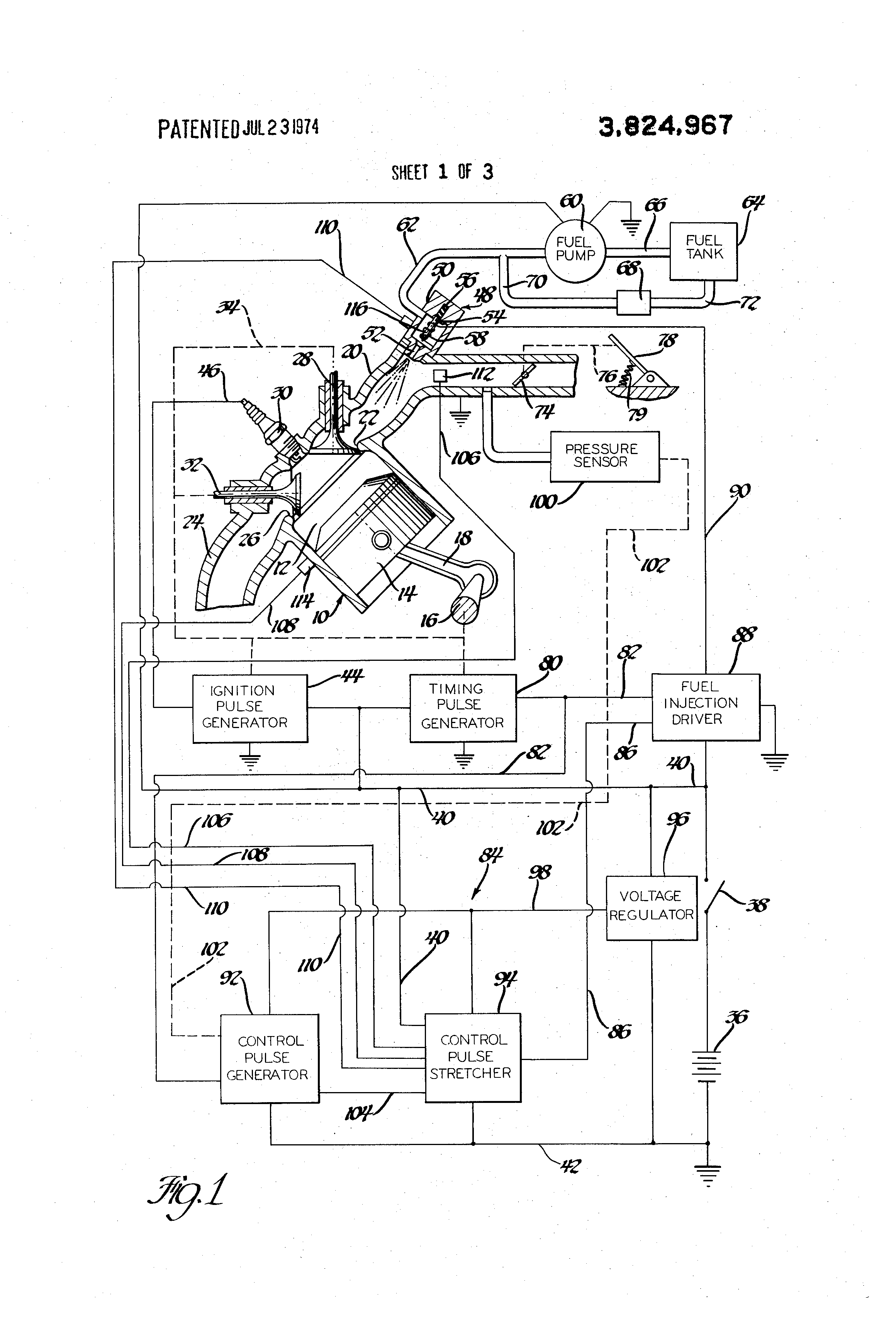 Patent US3824967 - Electronic fuel injection system - Google