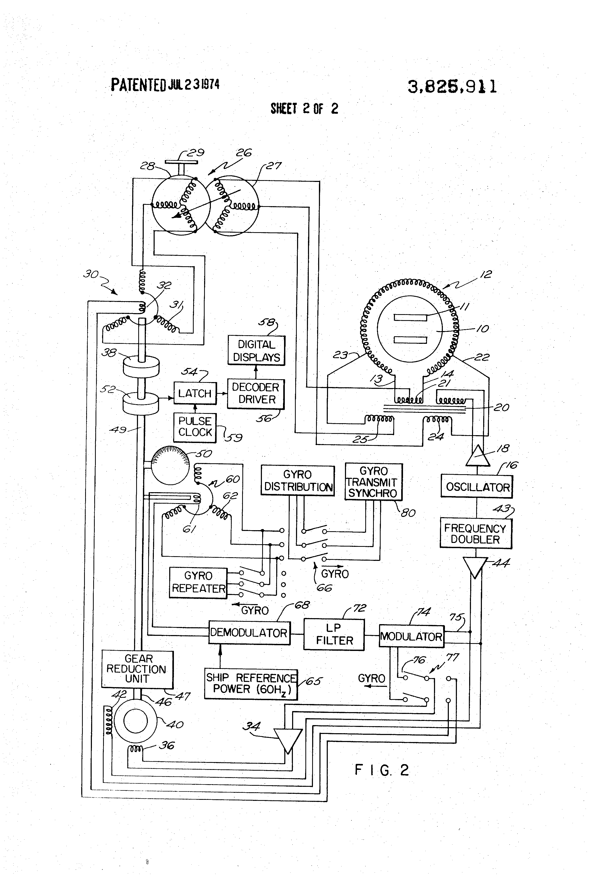 patent us3825911 - remote reading compass system