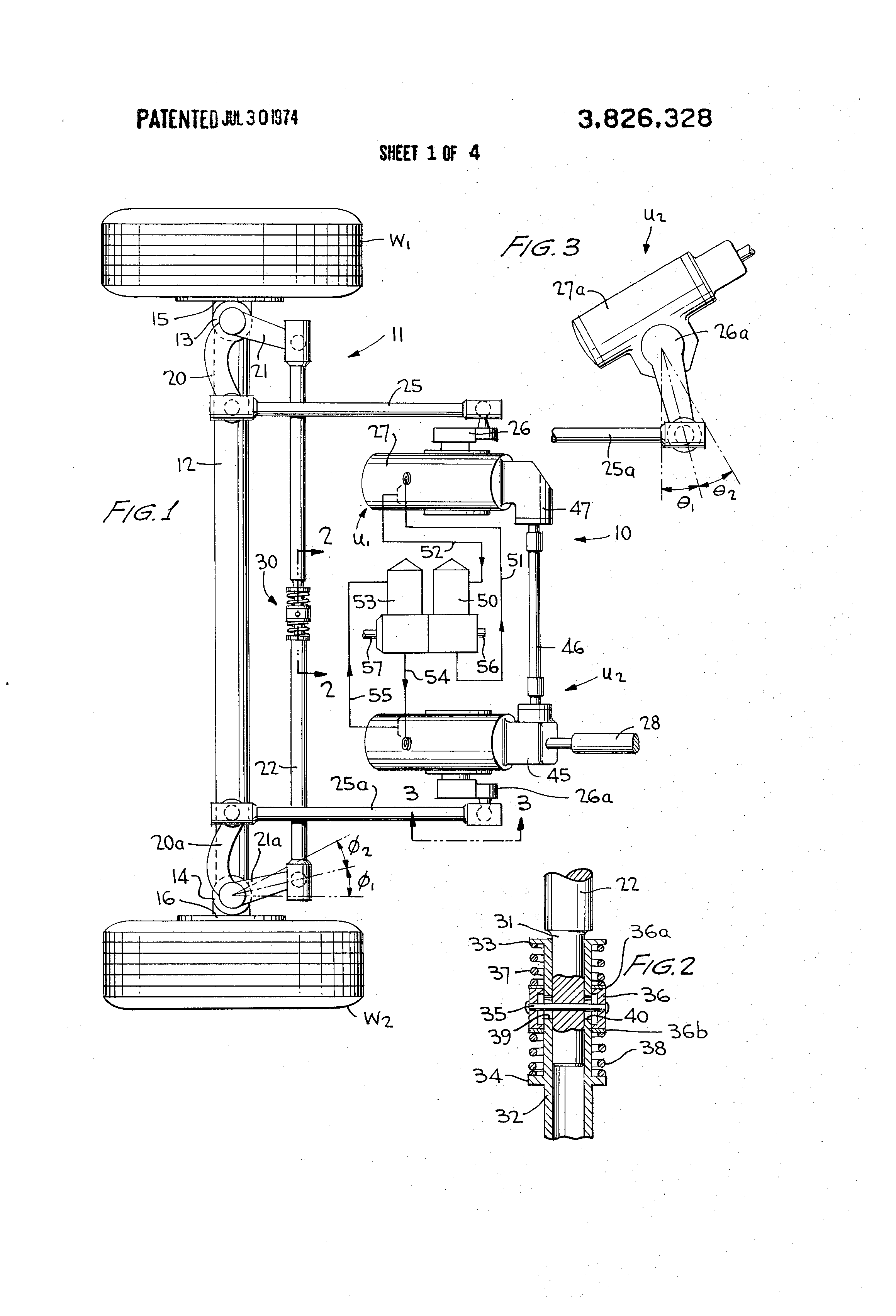 patent us3826328 - dual hydraulic power steering system