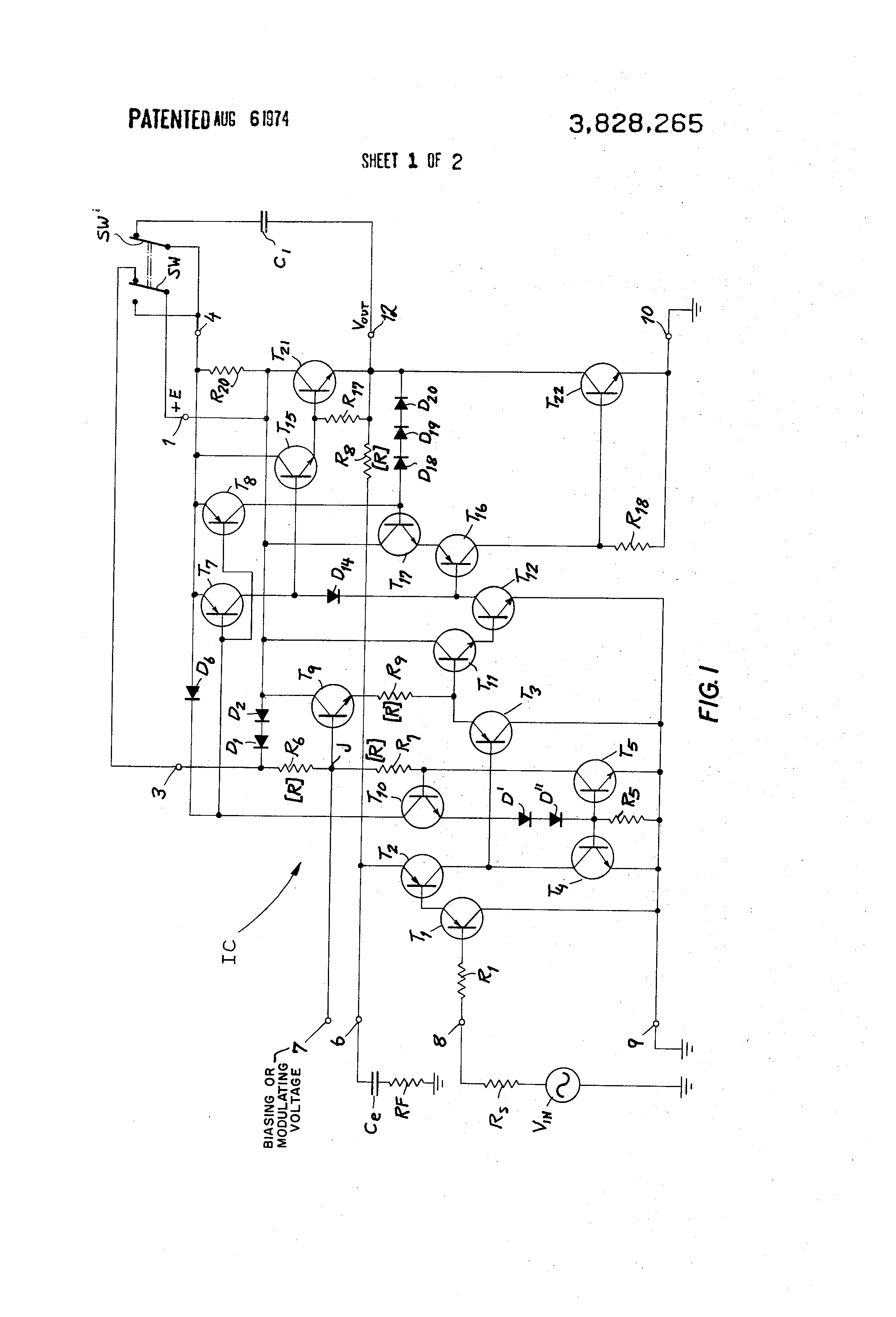 Patent Us3828265 Low Frequency Power Amplifier Google Patenten The Potential Voltage Divider Bias Drawing