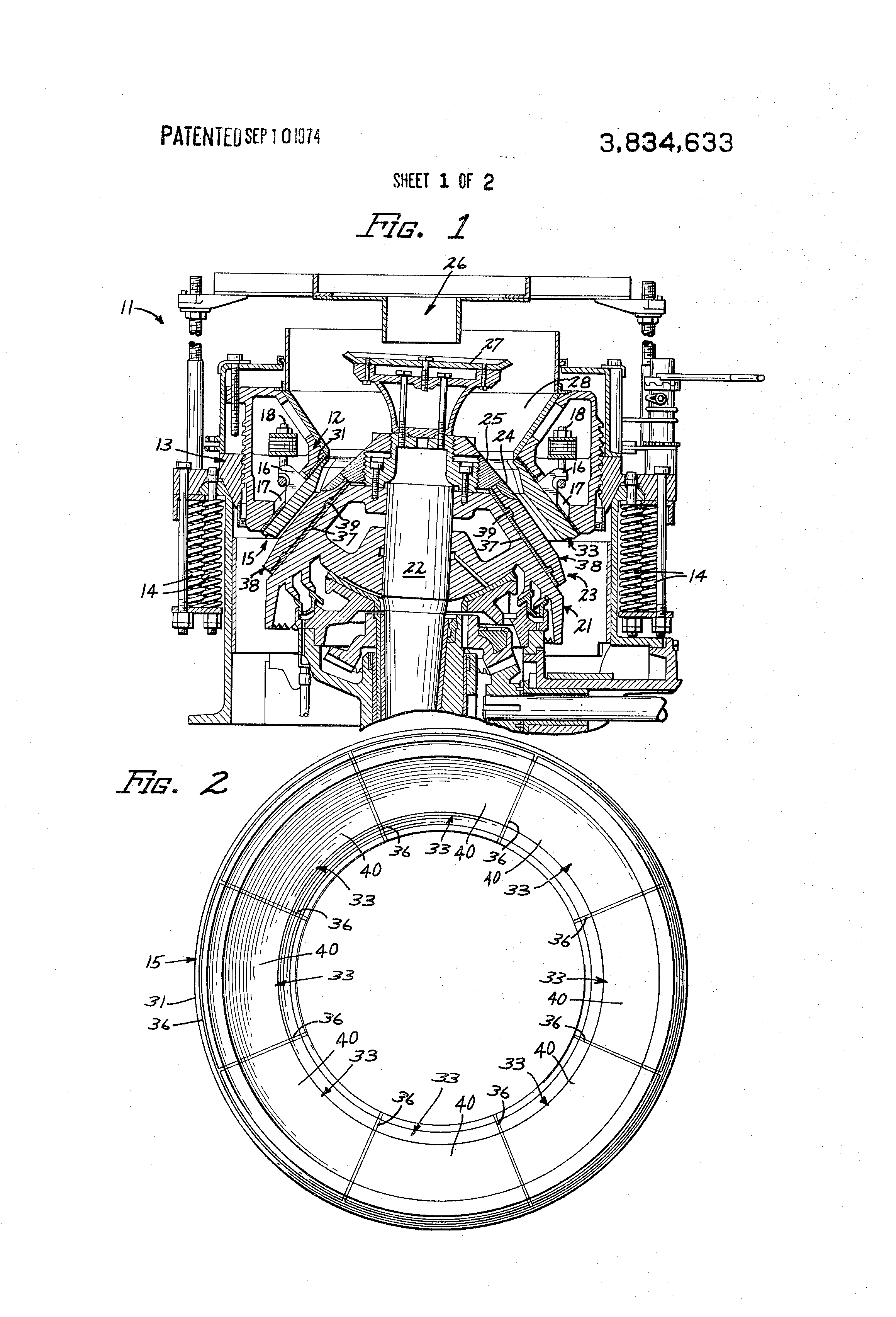 Brevet US3834633 - Bowl and mantle assembly for cone