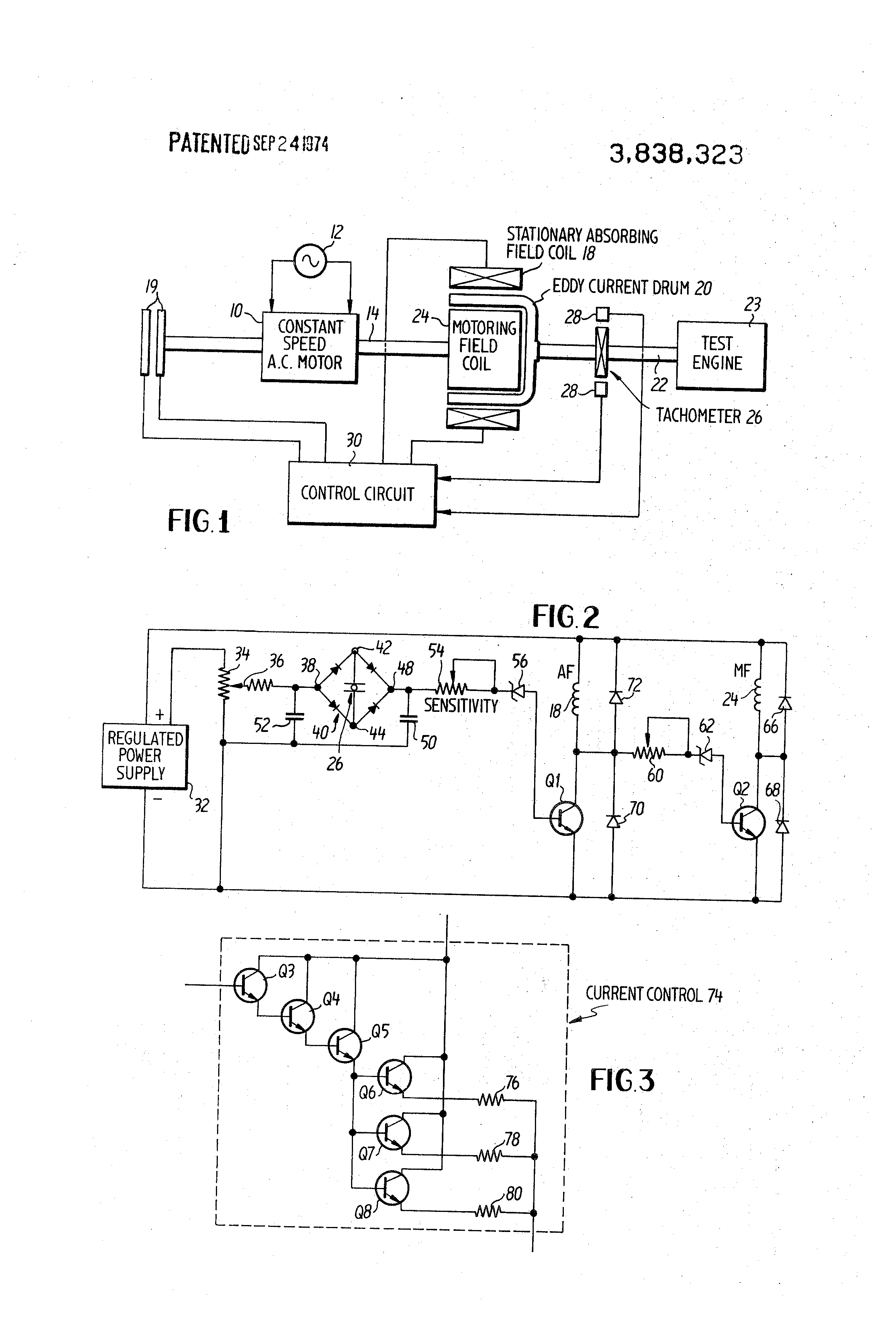 Patent us3838323 eddy current dynamometer speed control for Eddy current motor speed control