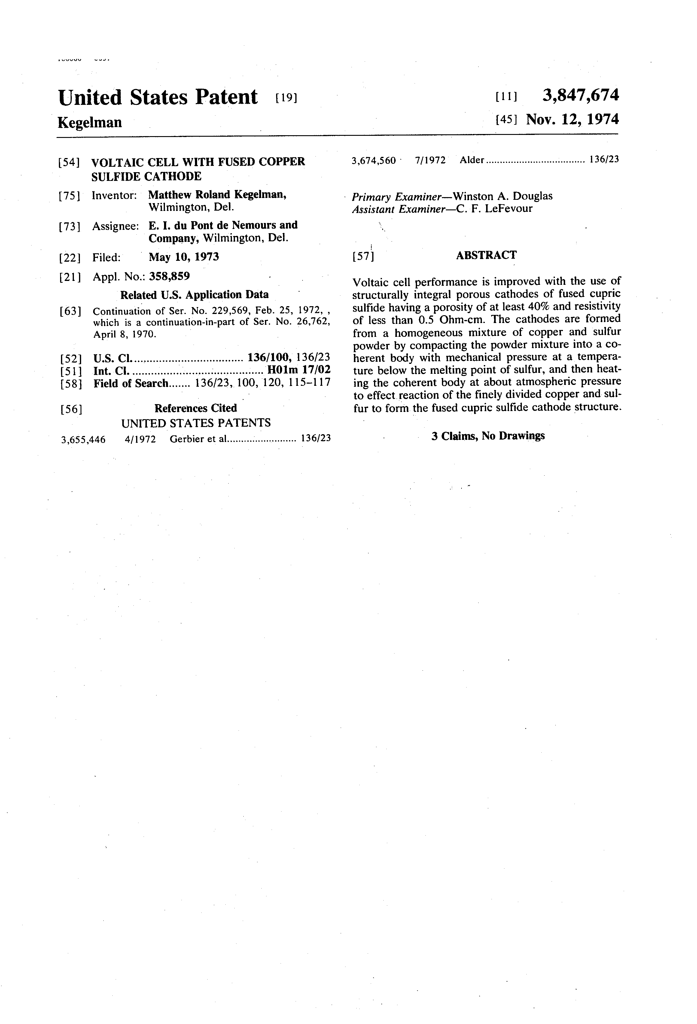 Brevet US3847674 - Voltaic cell with fused copper sulfide