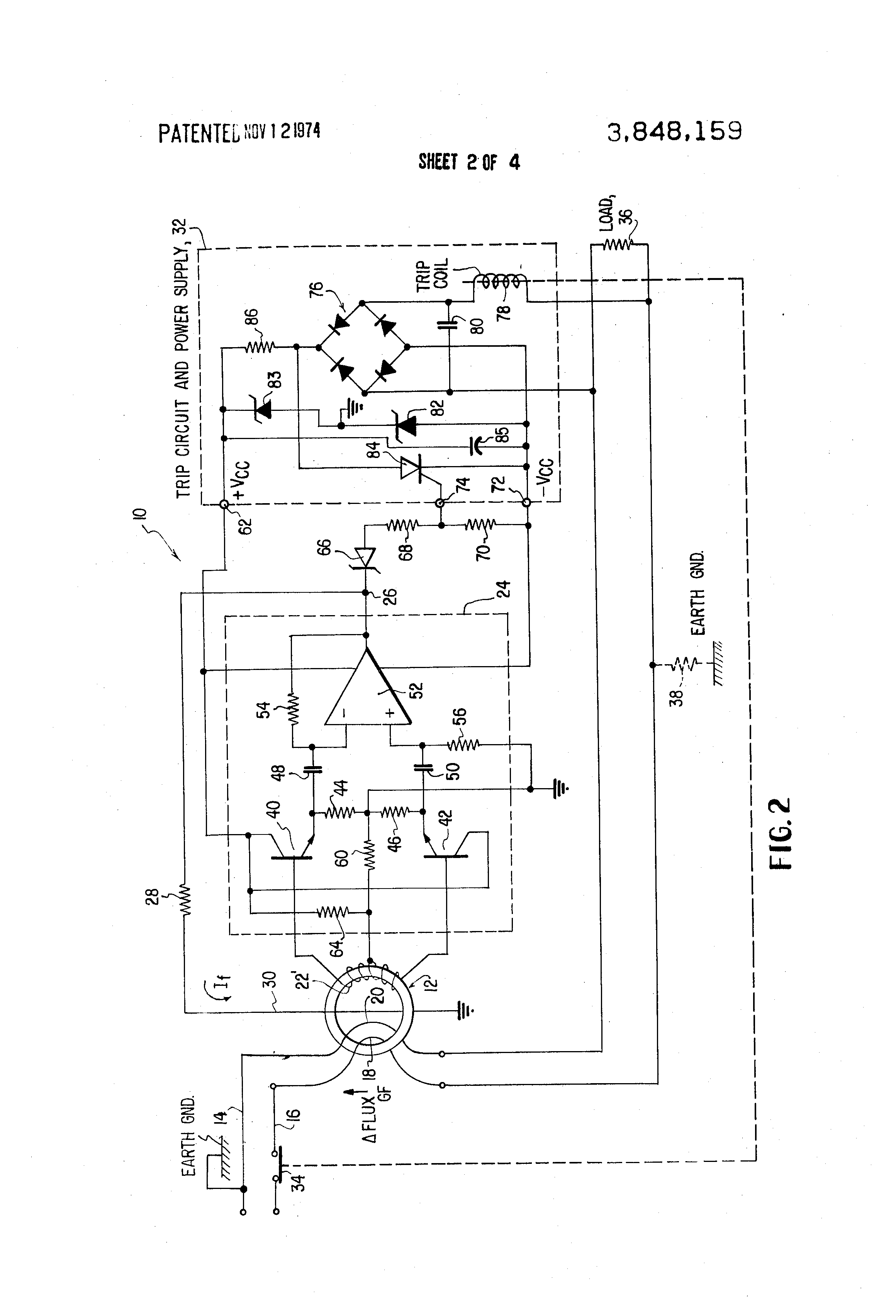 patent us3848159 - ground fault detector circuit with feedback to sensor