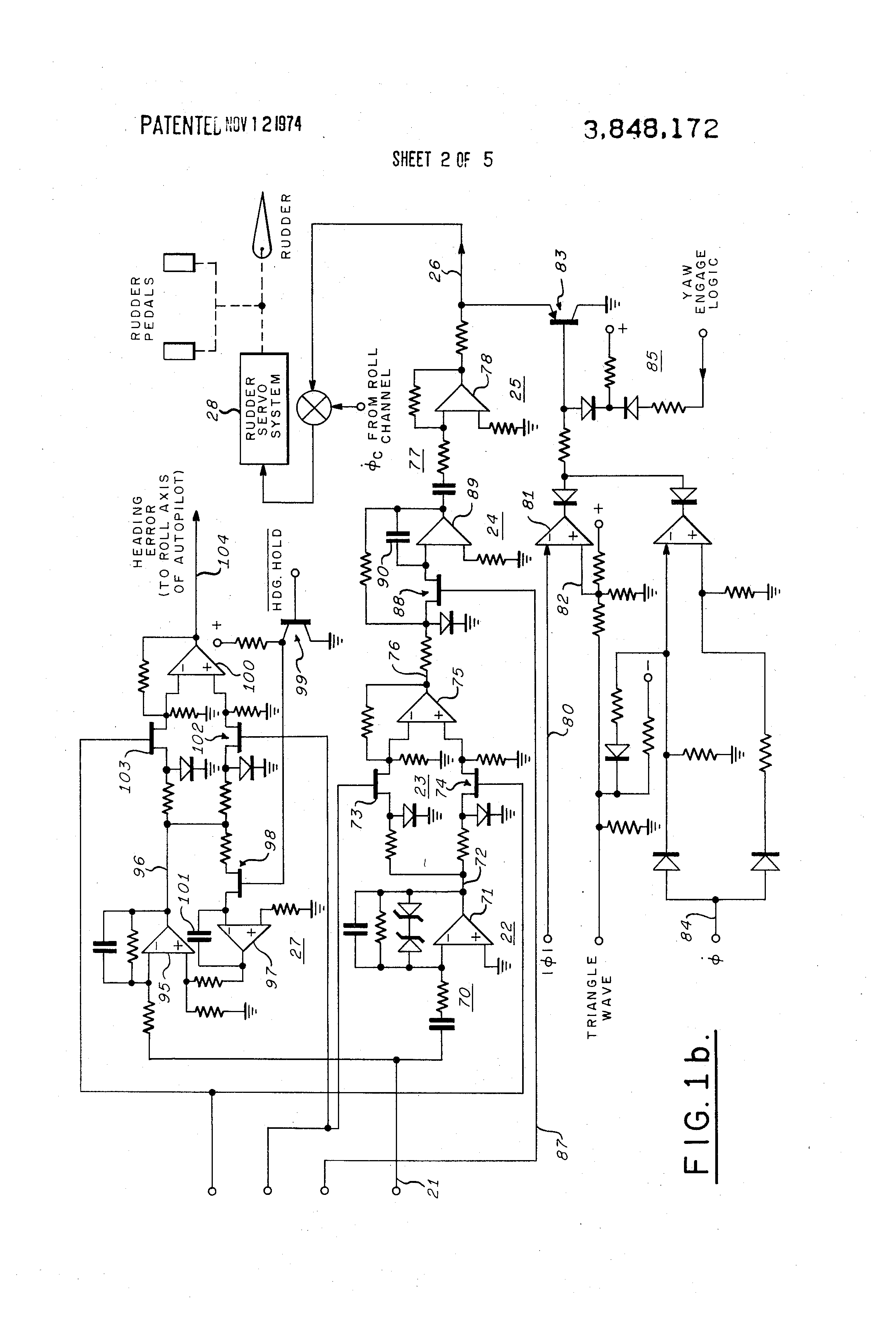 patent us3848172 - yaw damper synchro system for aircraft