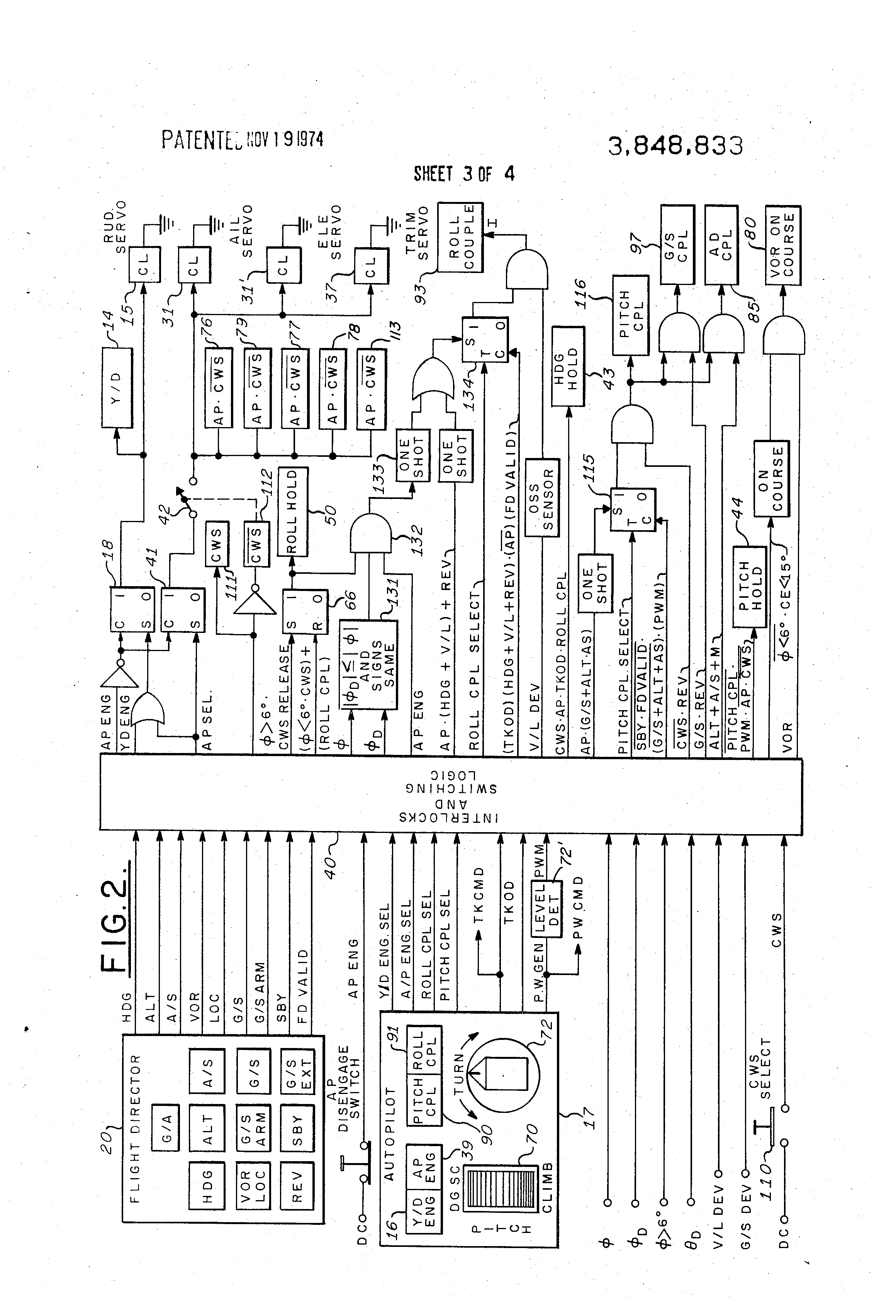 US3848833 3 patent us3848833 aircraft automatic flight control system century iv autopilot wiring diagram at readyjetset.co