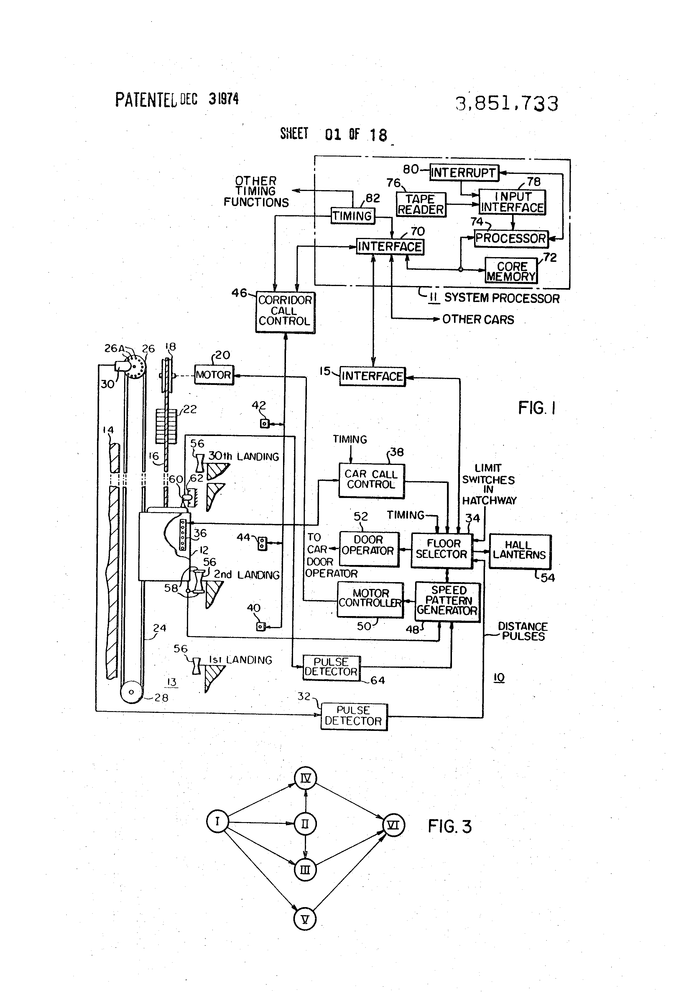 Brevet US3851733 - Elevator system - Google Brevets on