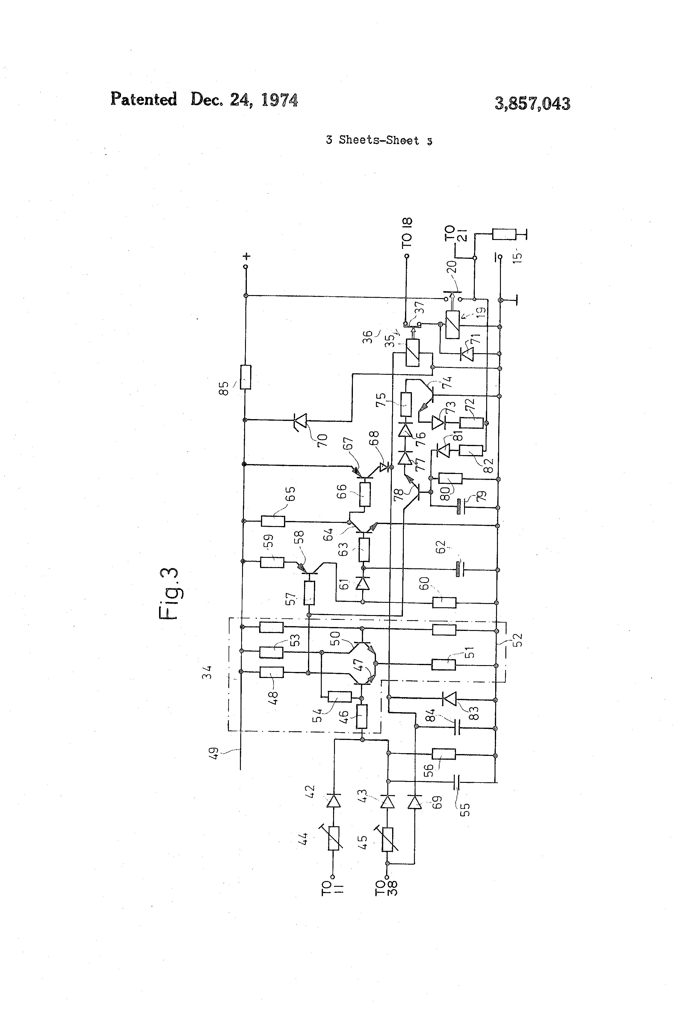 براءة الاختراع US3857043 - Interlock circuit for blocking operation