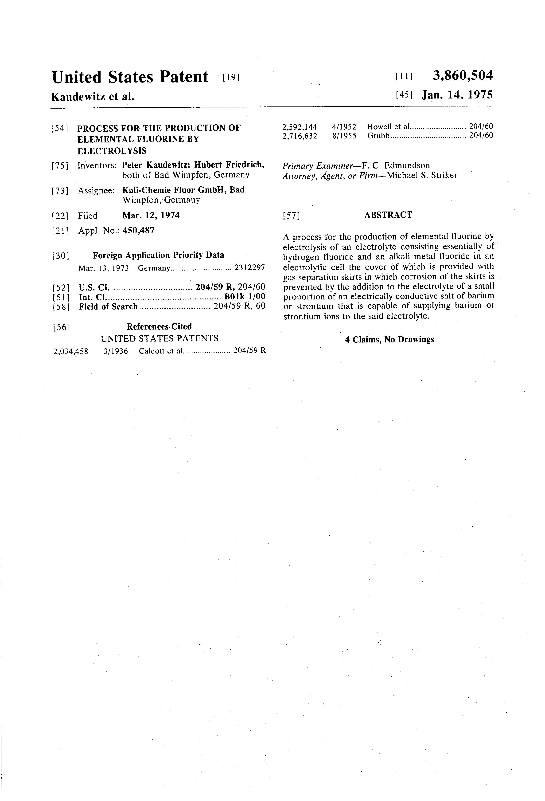 براءة الاختراع US3860504 - Process for the production of