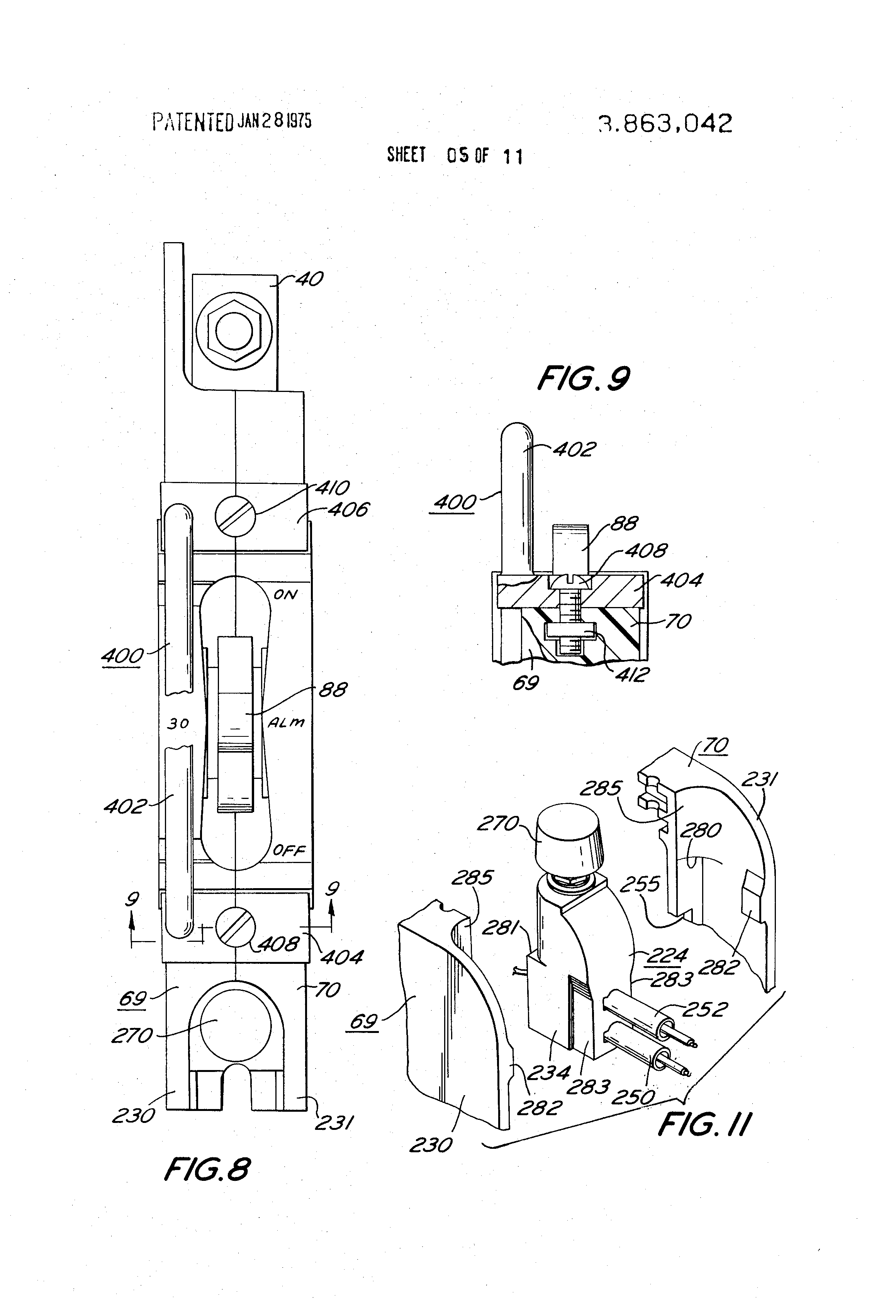 patent us3863042 - circuit breaker with electrical and mechanical trip indication