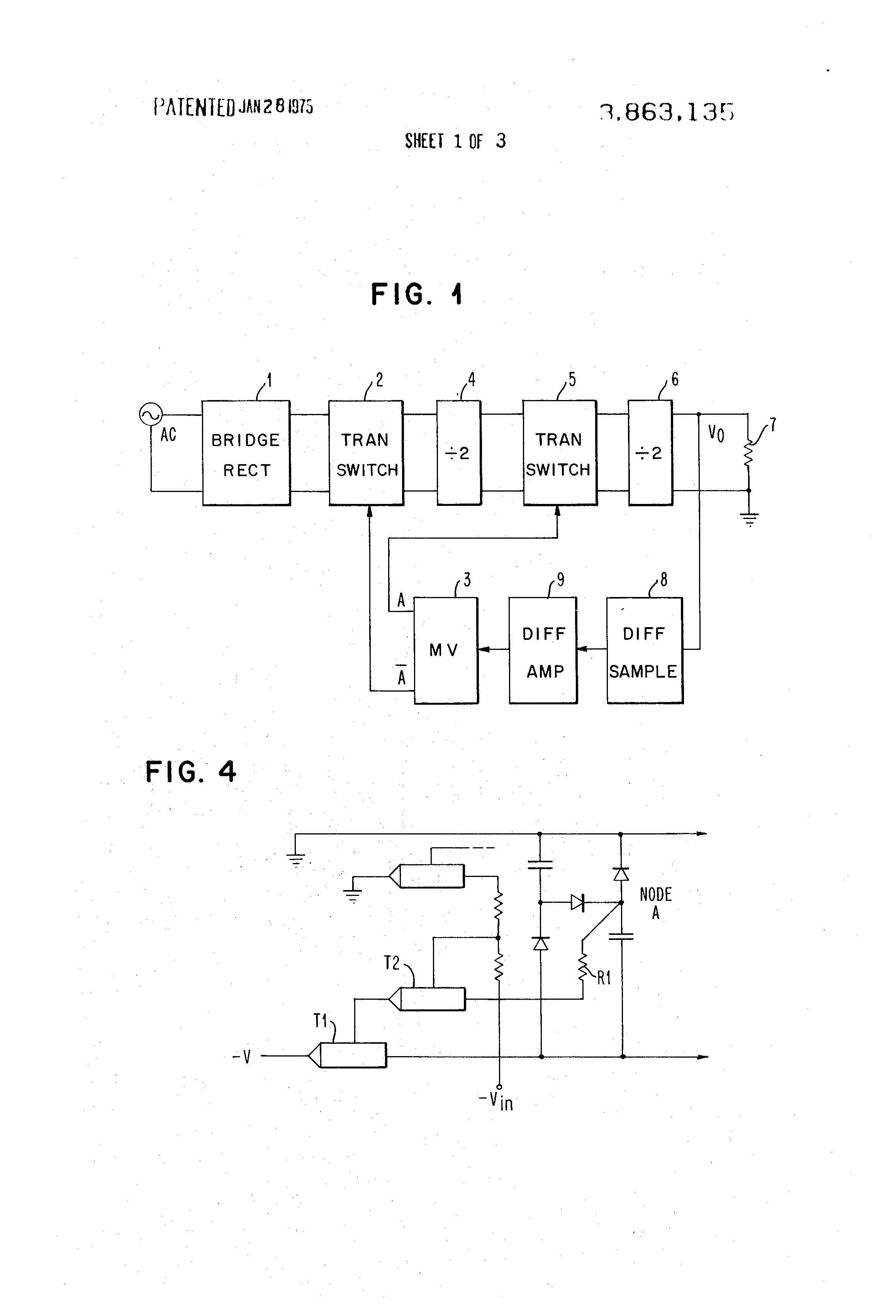 Us3863135 Regulated Transformerless Power Supply Circuit Projects High Current Patent Drawing