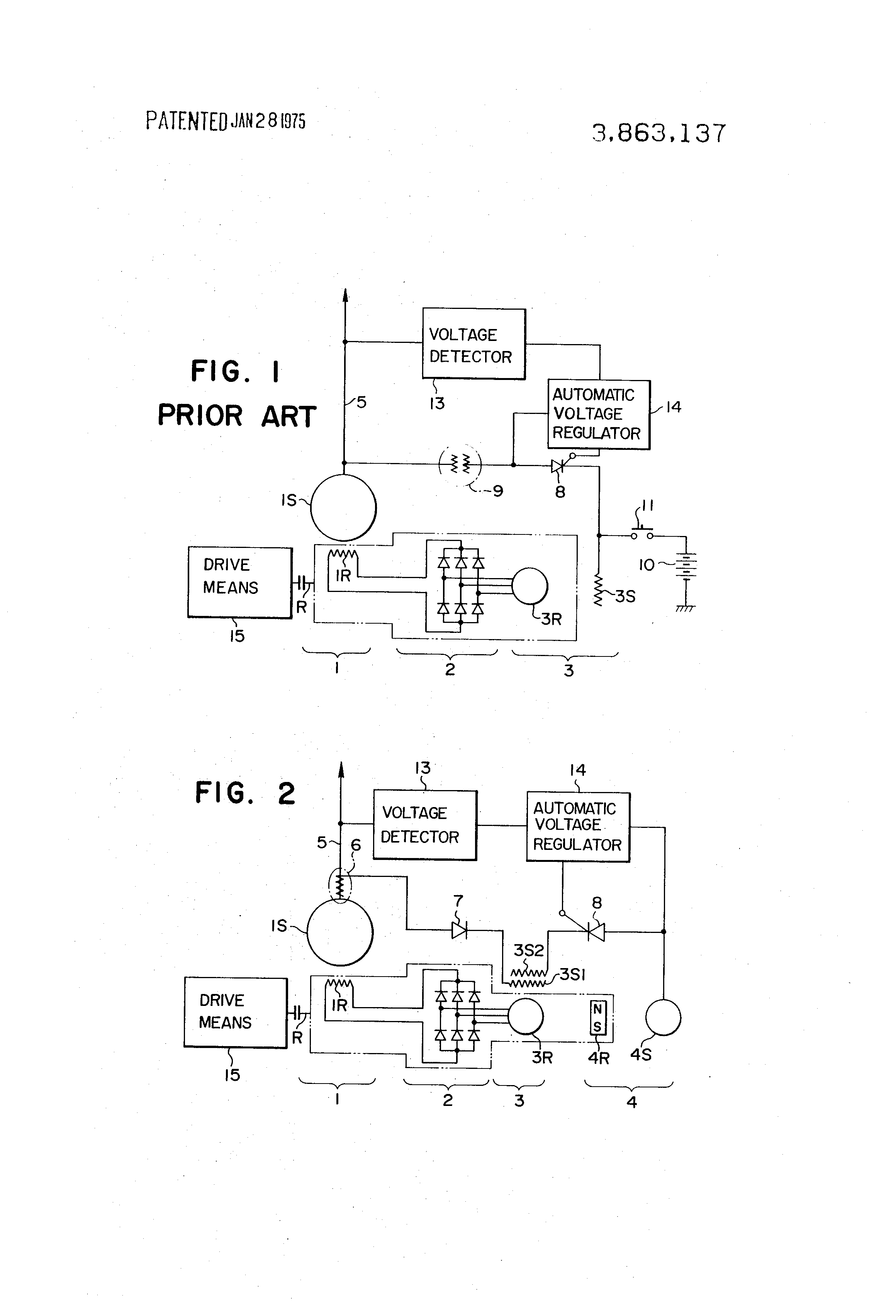 patent us3863137 exciting system for alternator google patents patent drawing