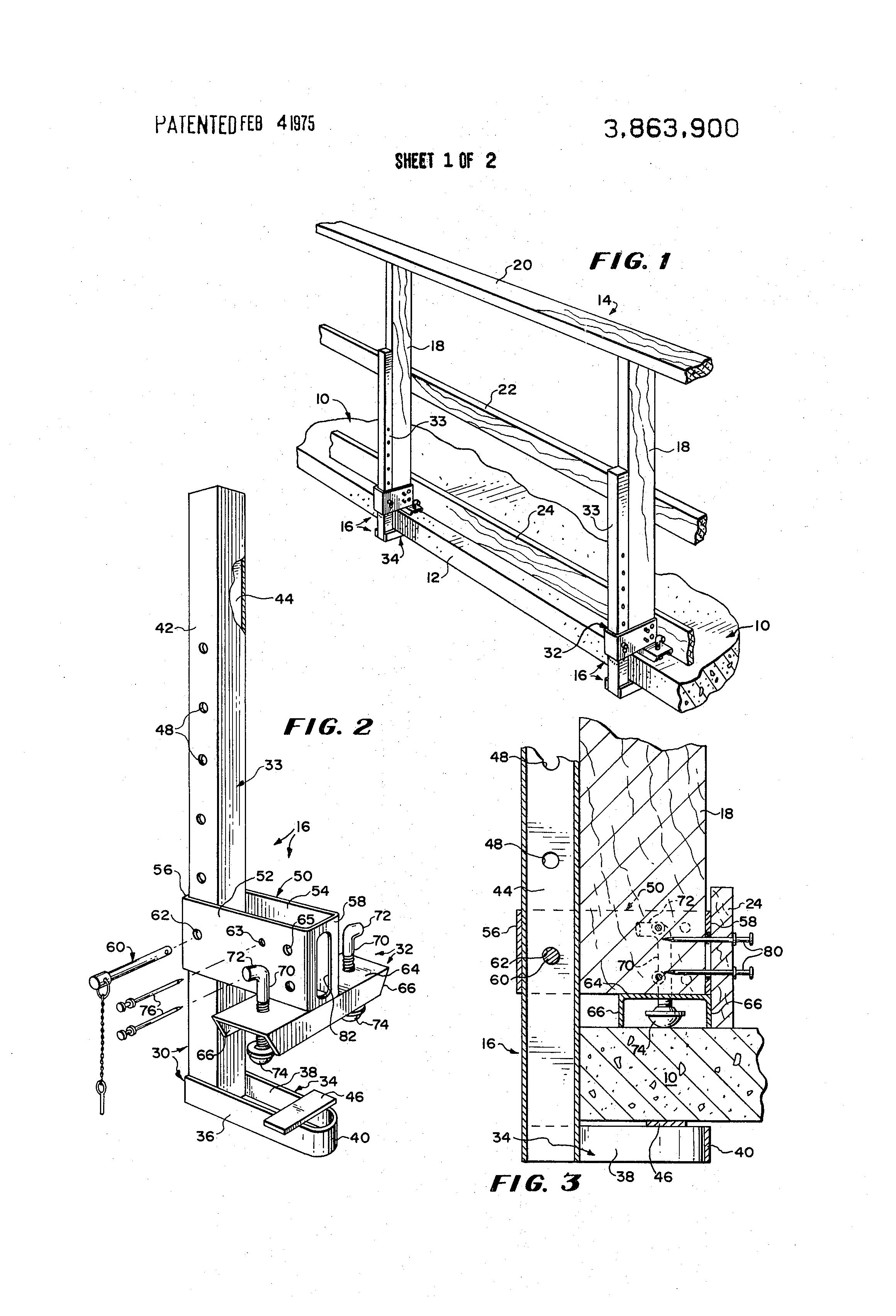 Patent Us3863900 Removable Guard Rail Assembly And